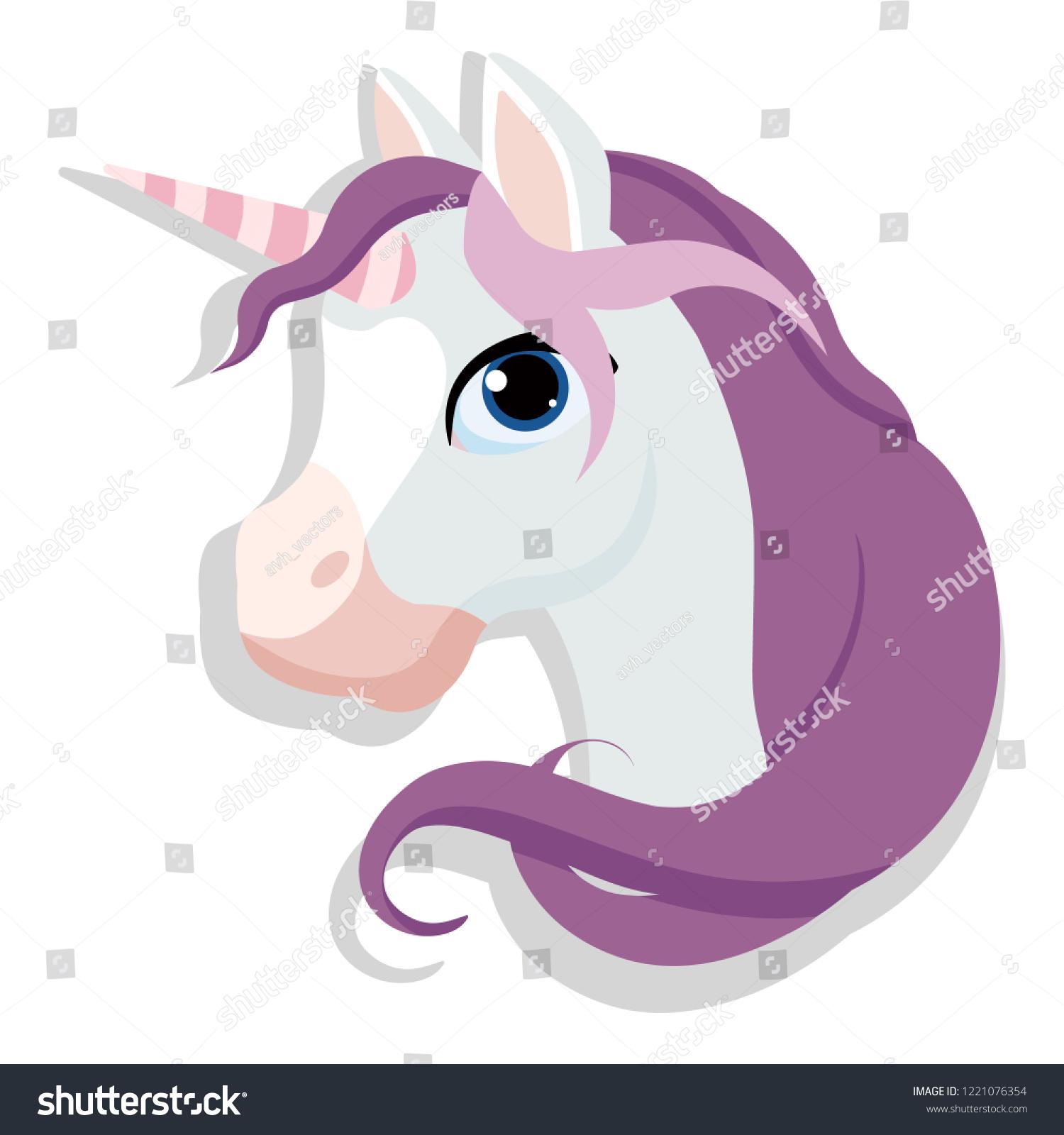 Vector De Stock Libre De Regalias Sobre Unicorn Head Vector Magic Horse Isolated1221076354