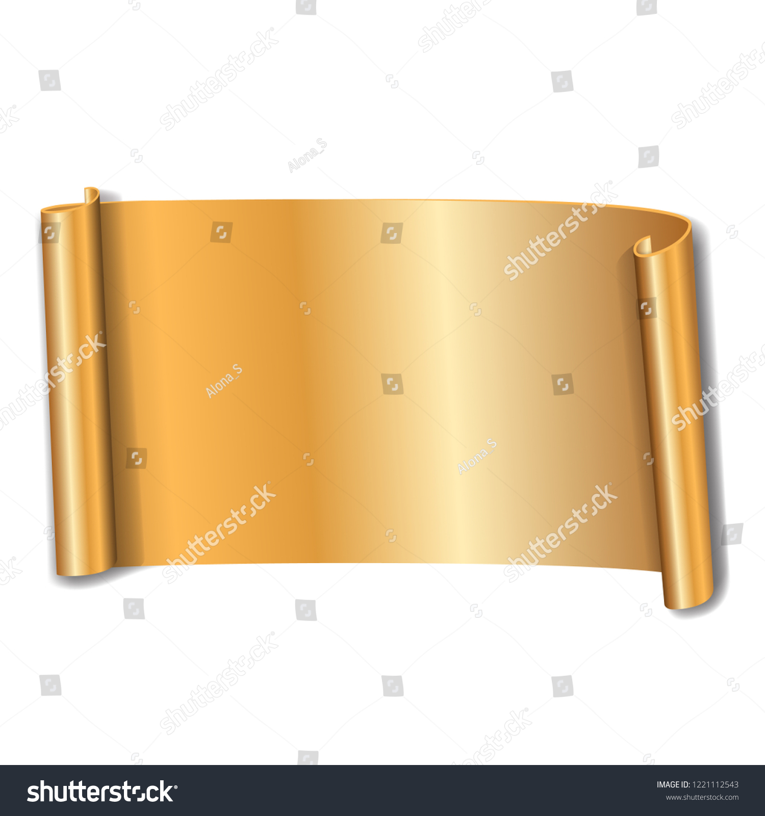 gold scroll isolated on white background golden paper roll banner 3d ribbon design for