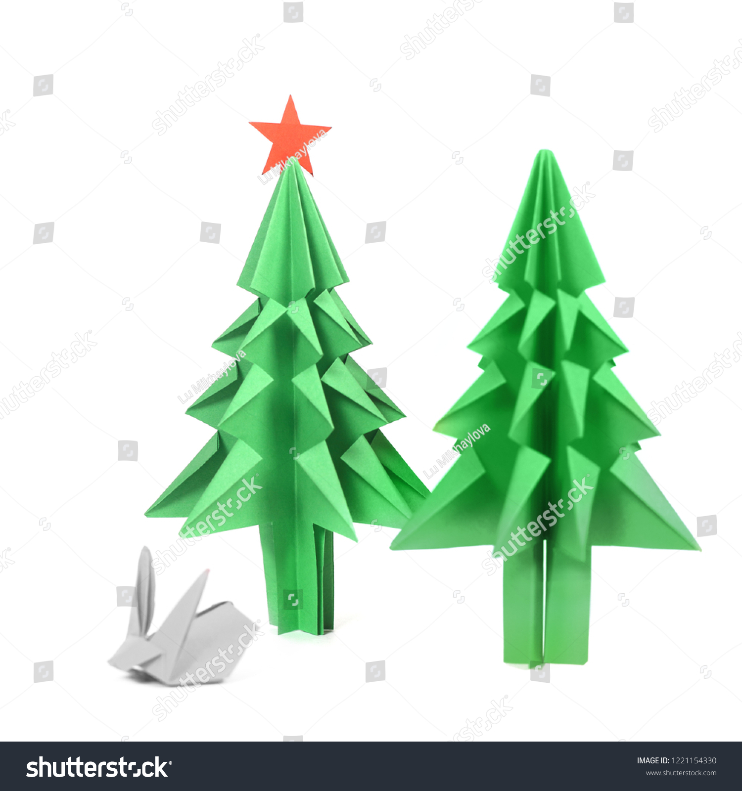 Origami Christmas Tree Green Craft Paper Stock Edit Now