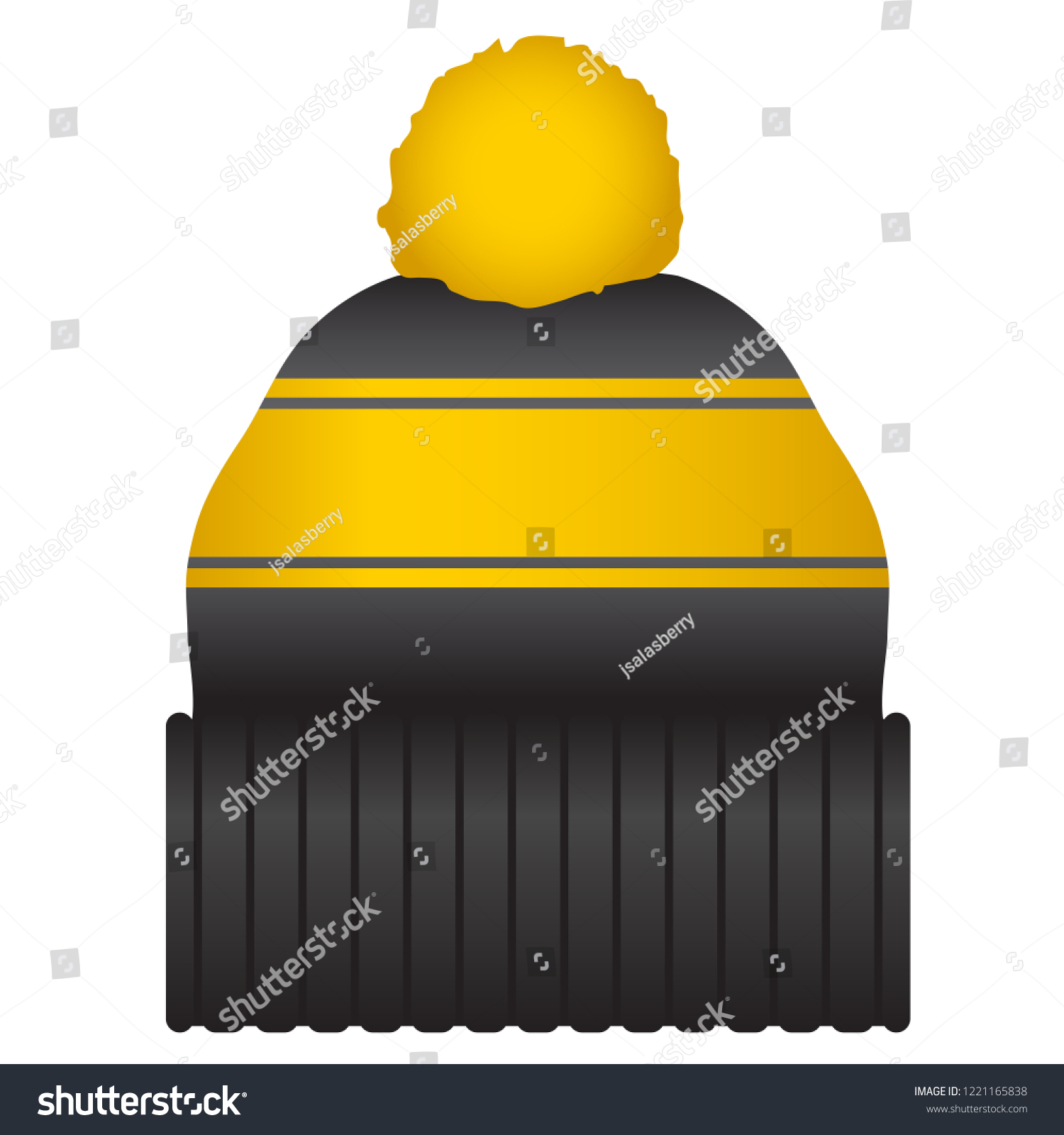 Black and Gold Puff Ball Stocking Cap Beanie Hat Vector Icon Illustration eccfd8cd929