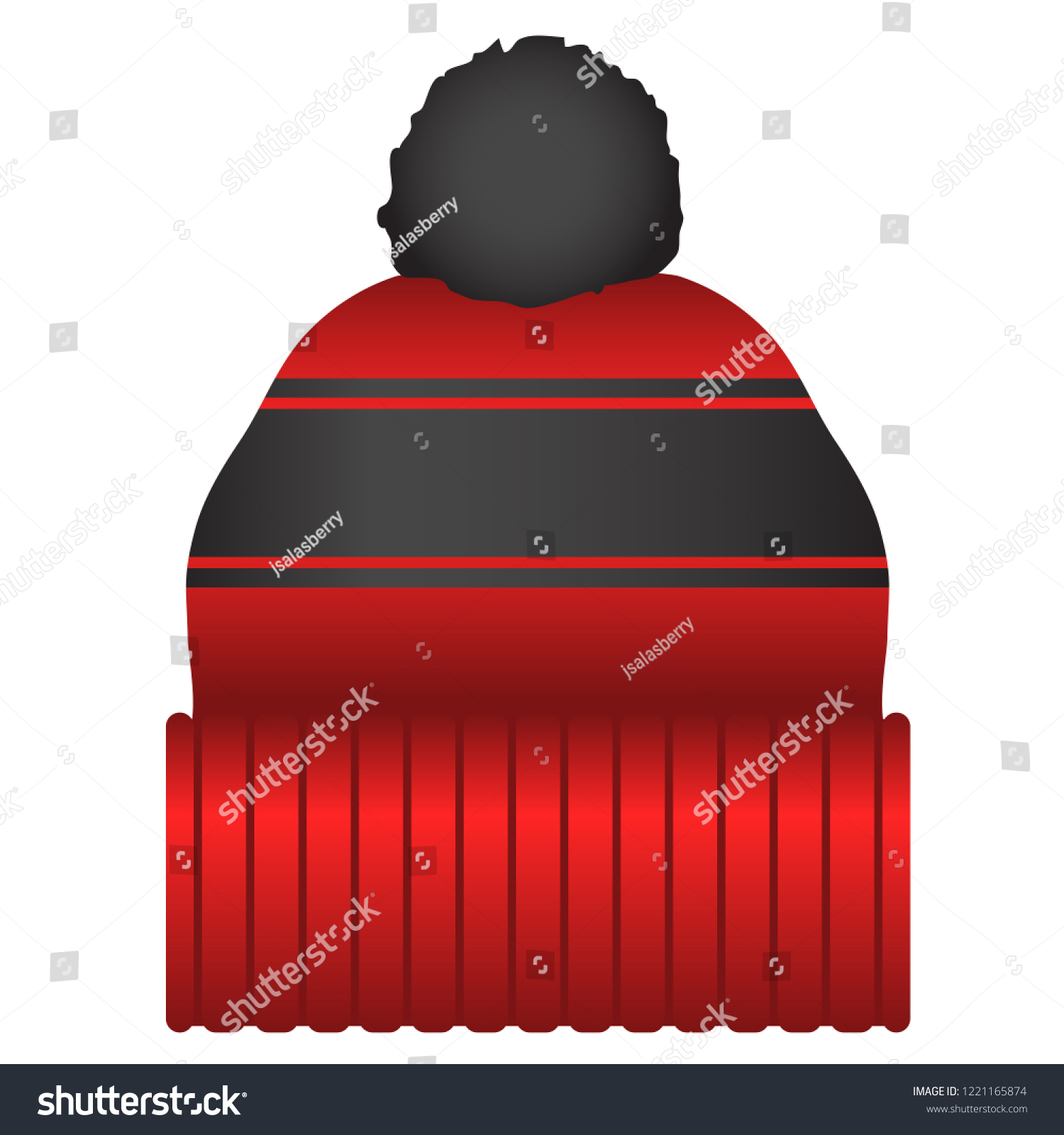 Red and Black Puff Ball Stocking Cap Beanie Hat Vector Icon Illustration 0a04cff3f61