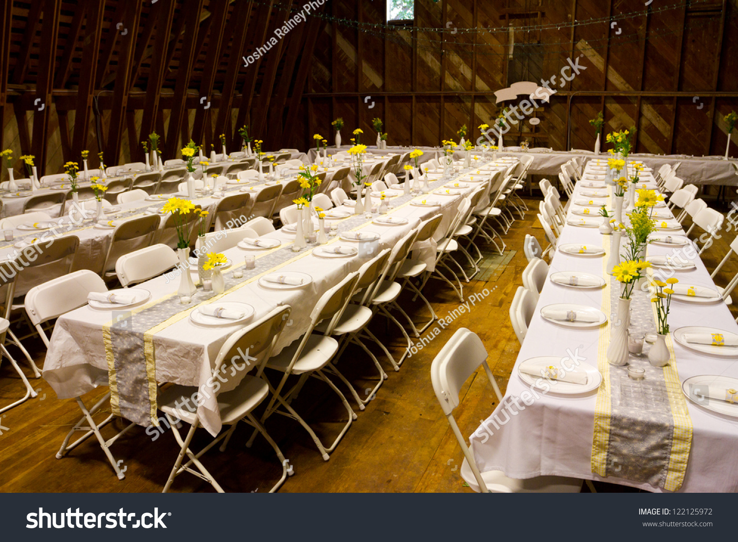 Tables Set Old Barn Wedding Reception Stock Photo