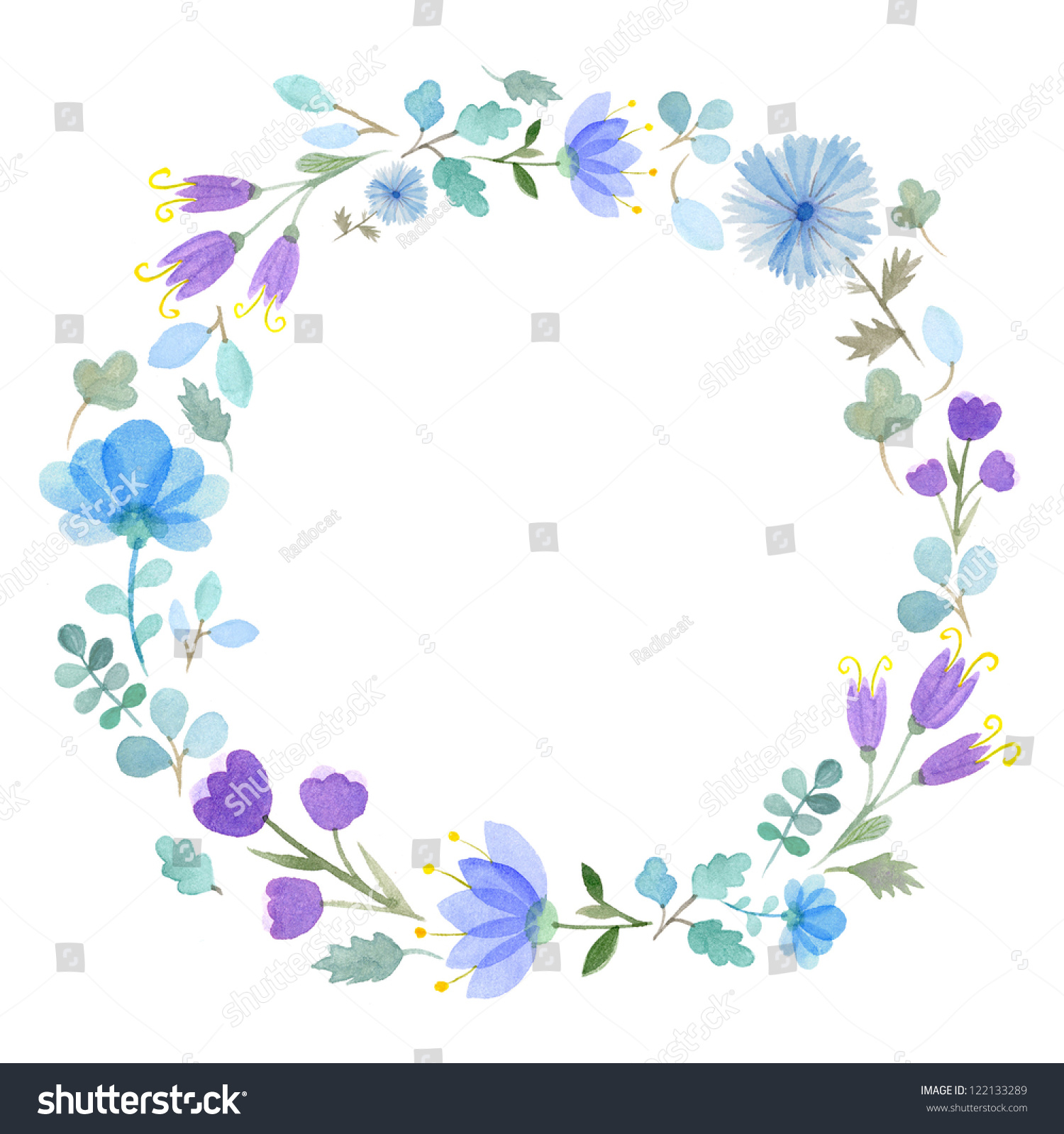 Watercolor flowers frame template 1 stock illustration for Watercolor painting templates free