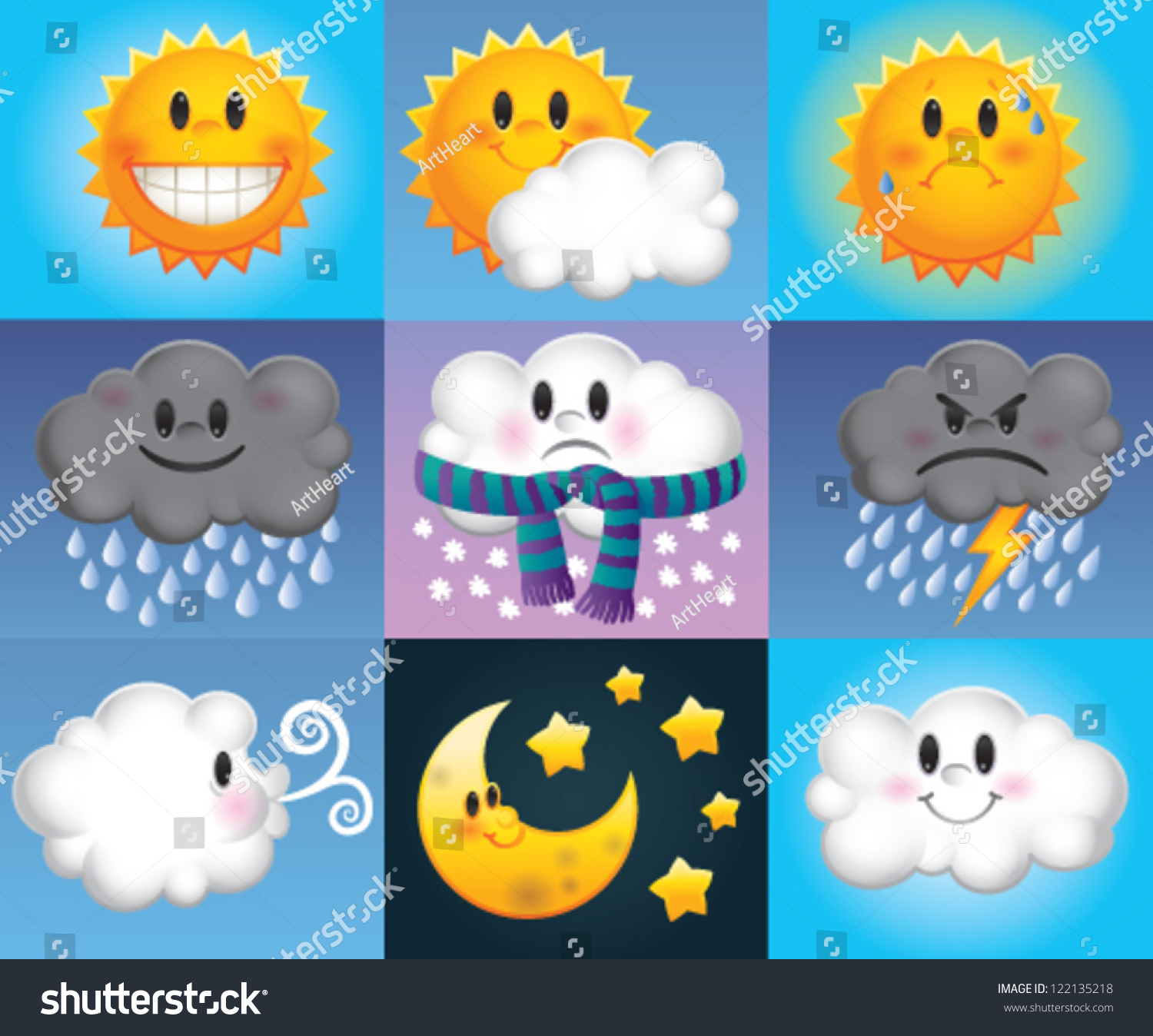 Nine Weather Symbols Which Made Cartoon Stock Vector 122135218 ...