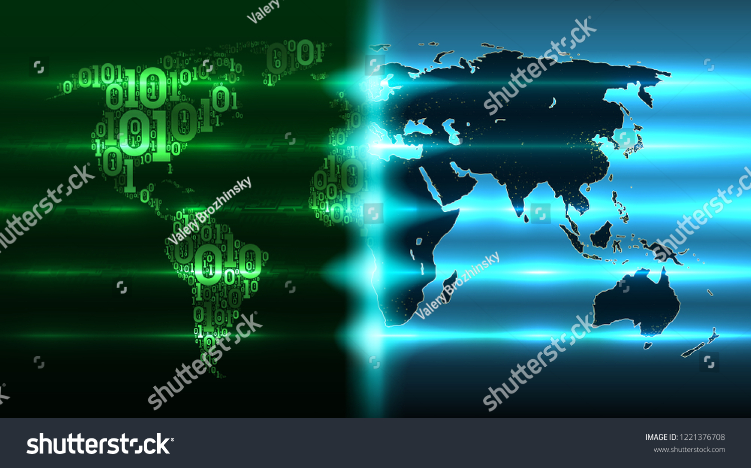 Digital Revolution On World Map Stock Vector Royalty Free Electronic Circuit Design Services Earth With Continents From A Binary Code