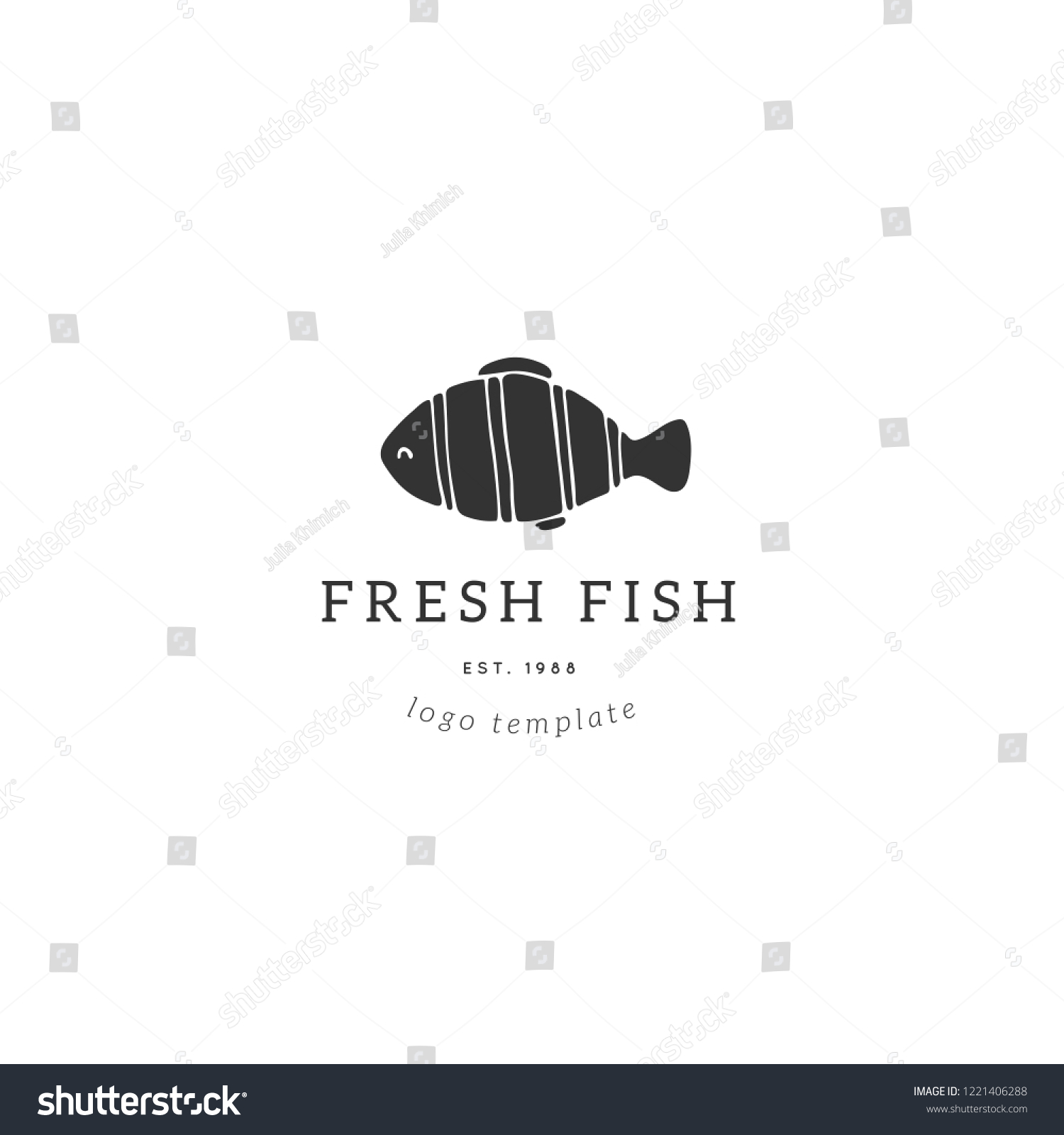 Vector Hand Drawn Logo Template Tropical Fish Illustration For Badges Labels Logotypes