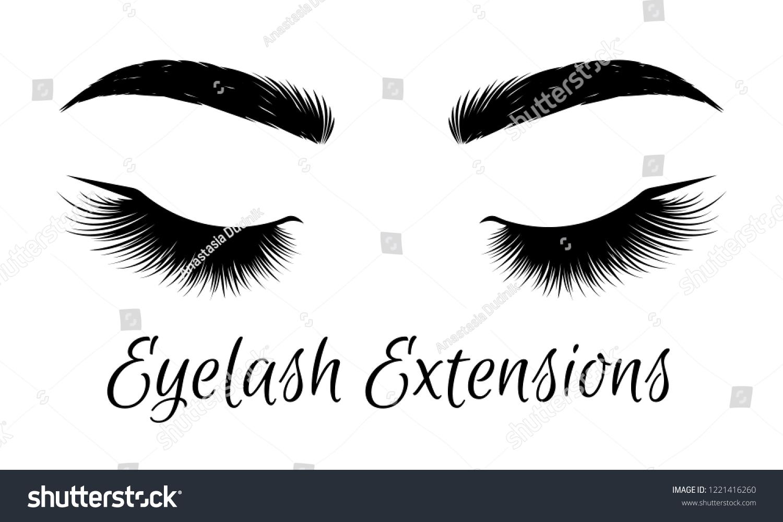 Black lashes woman eyes with long eyelashes vector illustration eyelashes and eyebrows on