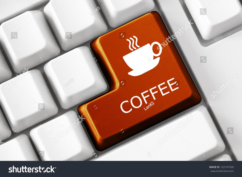 Modern keyboard coffee text coffee cup stock photo 122141920 modern keyboard coffee text and coffee cup symbol technology concept buycottarizona