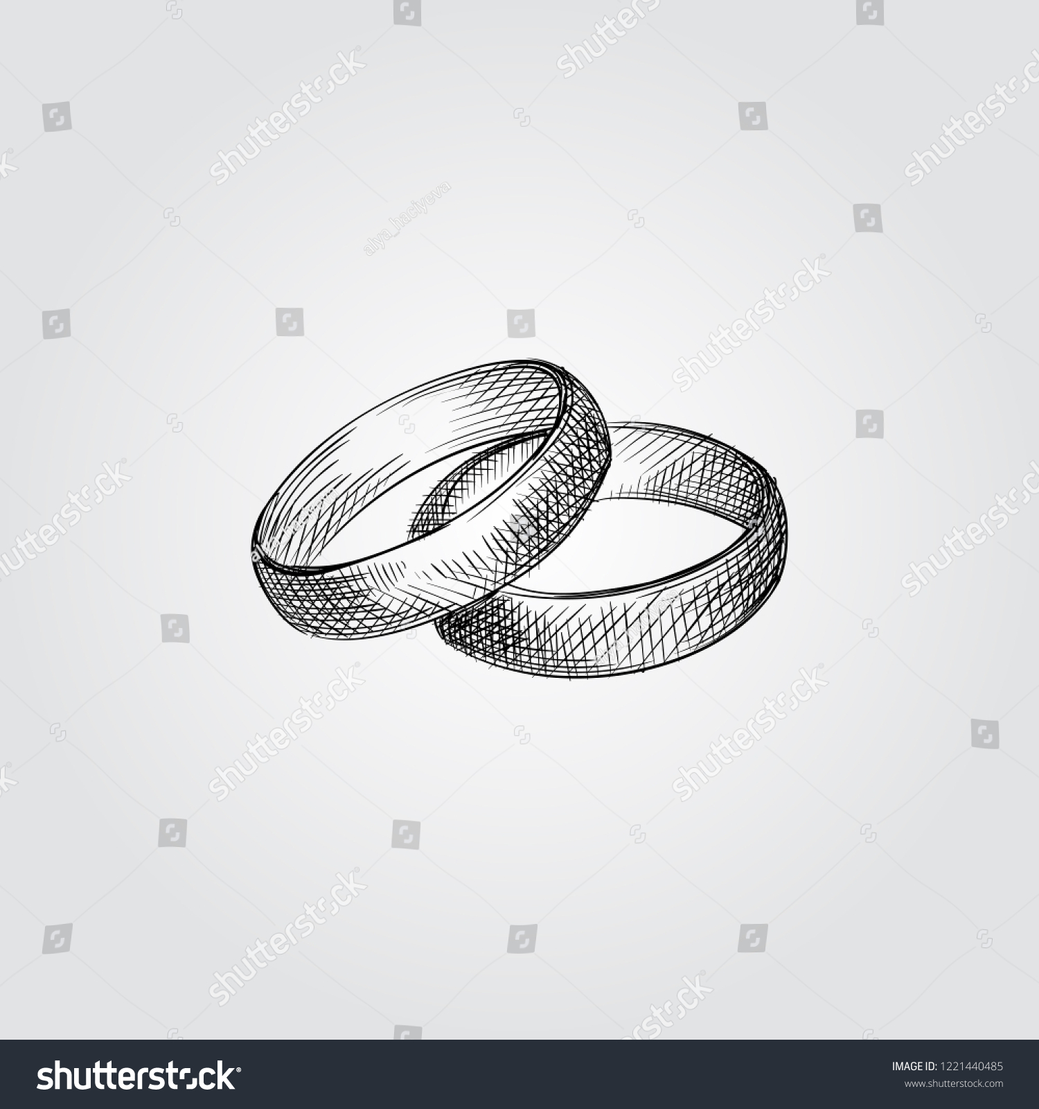 Hand Drawn Wedding Rings Sketch Symbol Isolated On White Background Vector Of Elements In: Drawn Chalkboard Wedding Ring At Reisefeber.org