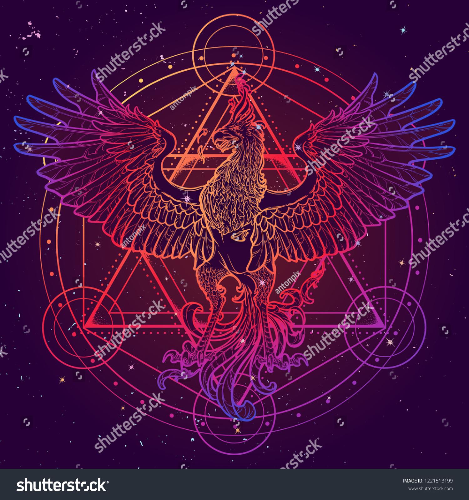 Mythycal Bird Phoenix Davids Star On Stock Vector (Royalty Free) 1221513199