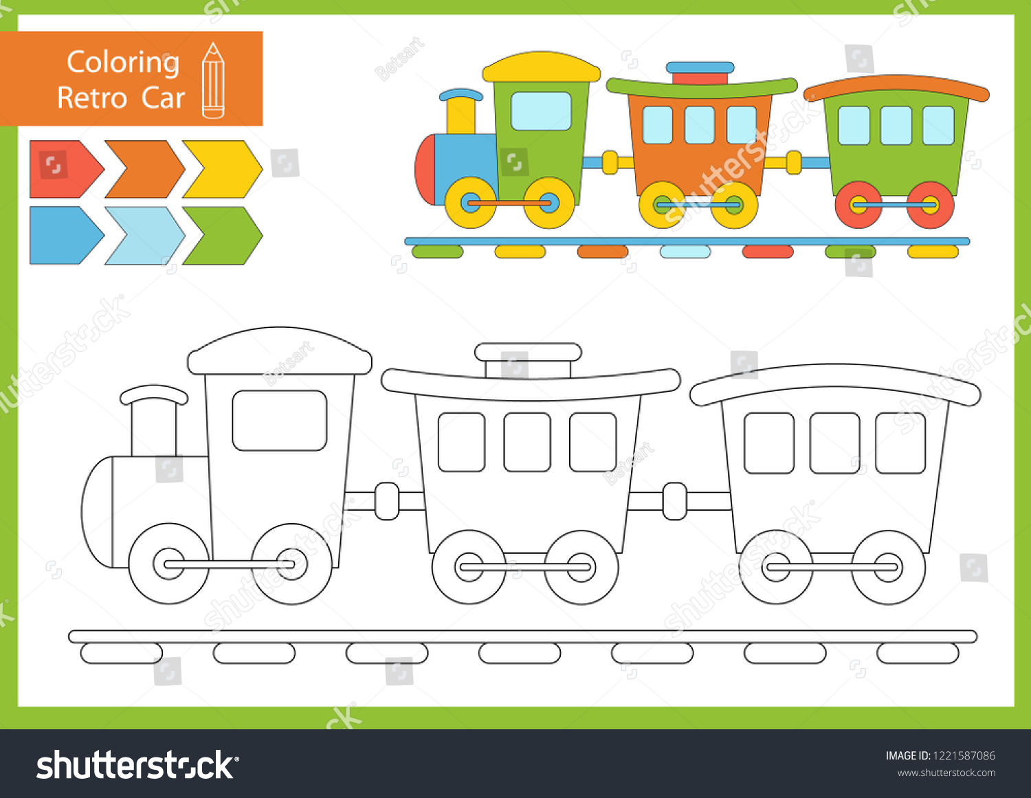 Coloring Book Cute Cartoon Train Drawing Stock Vector Royalty Free