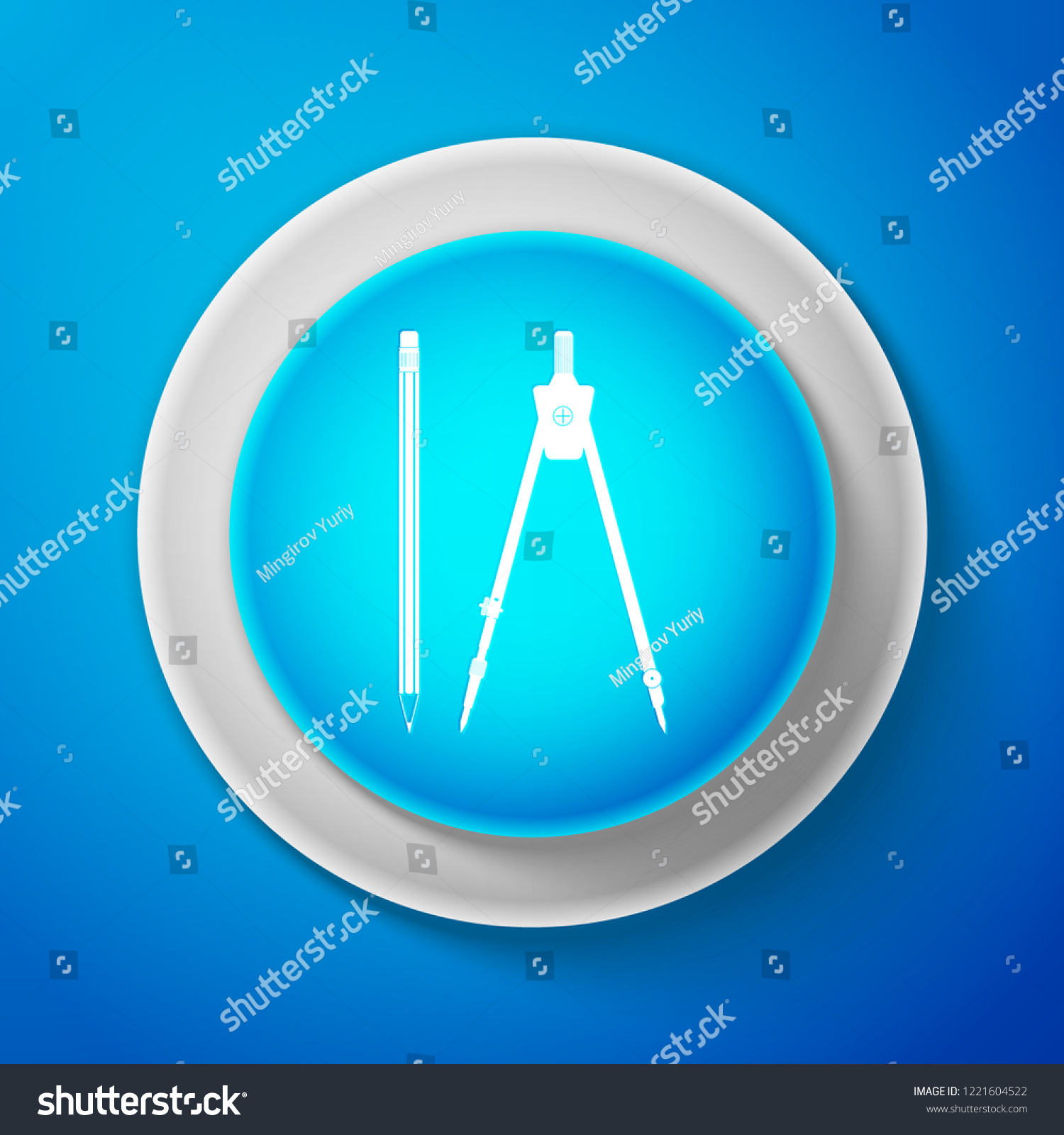 White Drawing Compass Pencil Eraser Icon Stock Vector