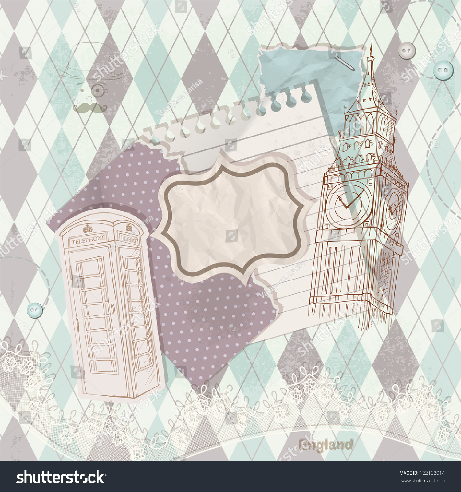 Scrapbook paper england - Vintage Scrapbook Elements In British Style Background With The London Big Ben And Red Telephone