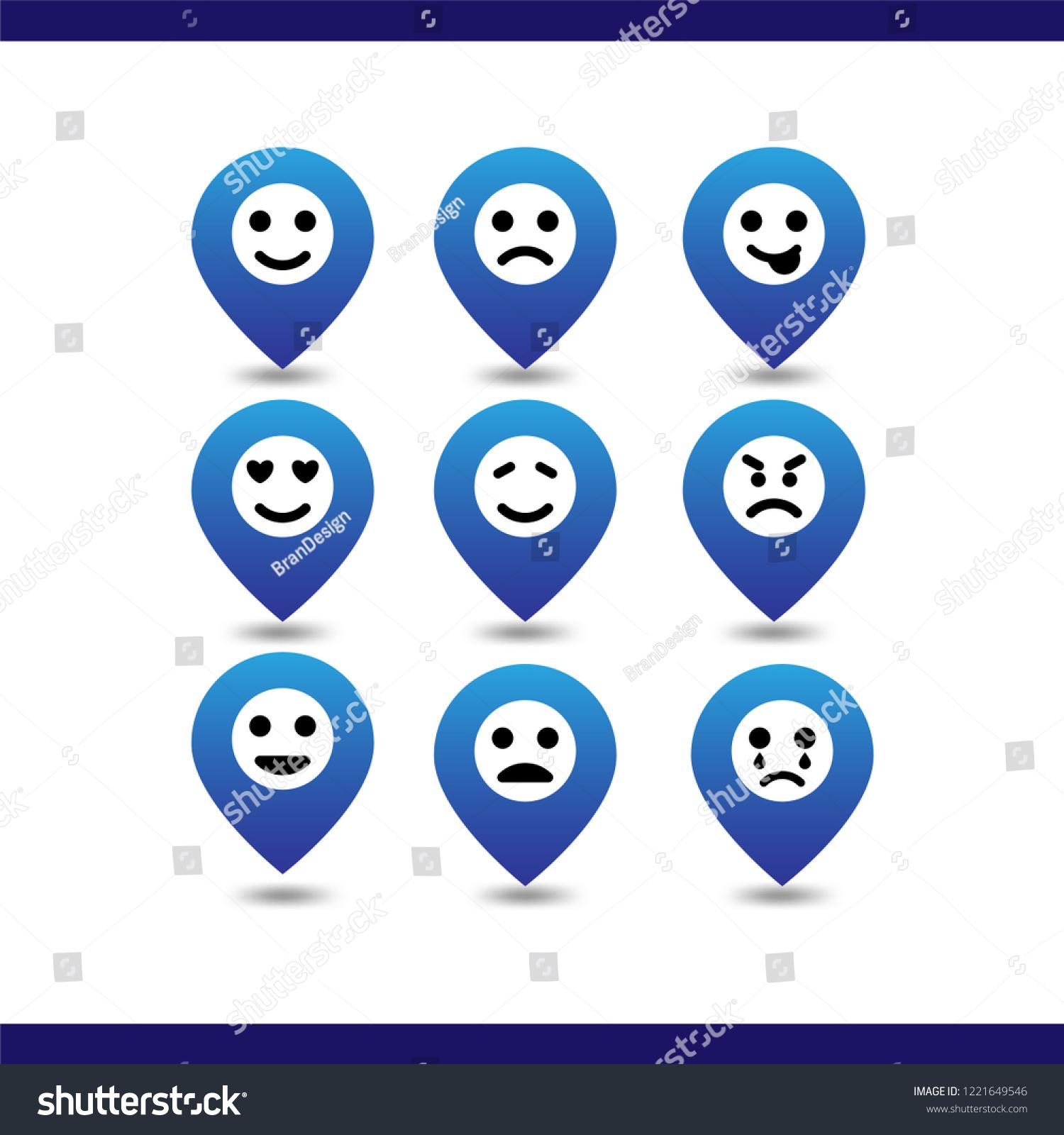 Icon Set Emoji Pin Location Expressions Stock Vector