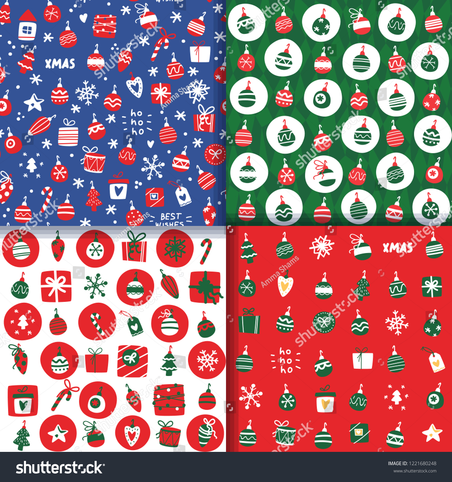 Christmas Backgrounds Cute.Set Vector Christmas Backgrounds Cute Cartoon Stock Vector
