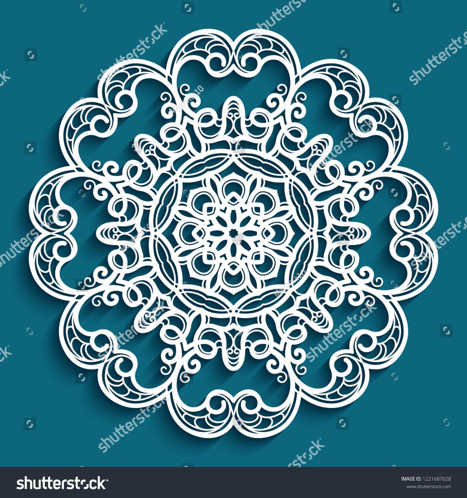 Round Lace Doily Crochet Ornament Decorative Stock Vector Royalty