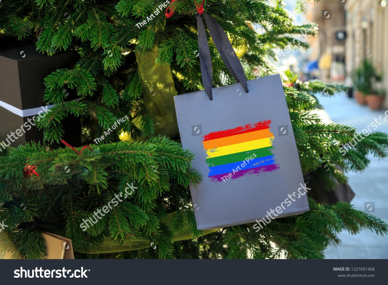 Lgbt Rainbow Flag Printed On Christmas Stock Photo Edit Now
