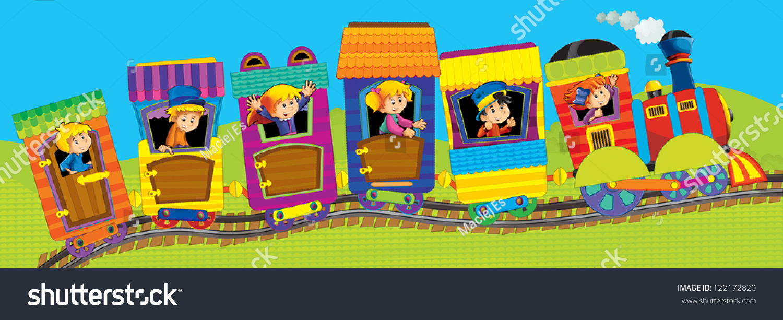 Big Cartoon Train Kids Illustation Children Stock