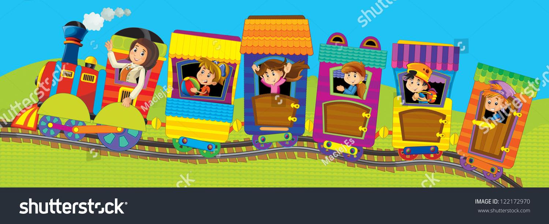 big cartoon train kids illustation children stock illustration
