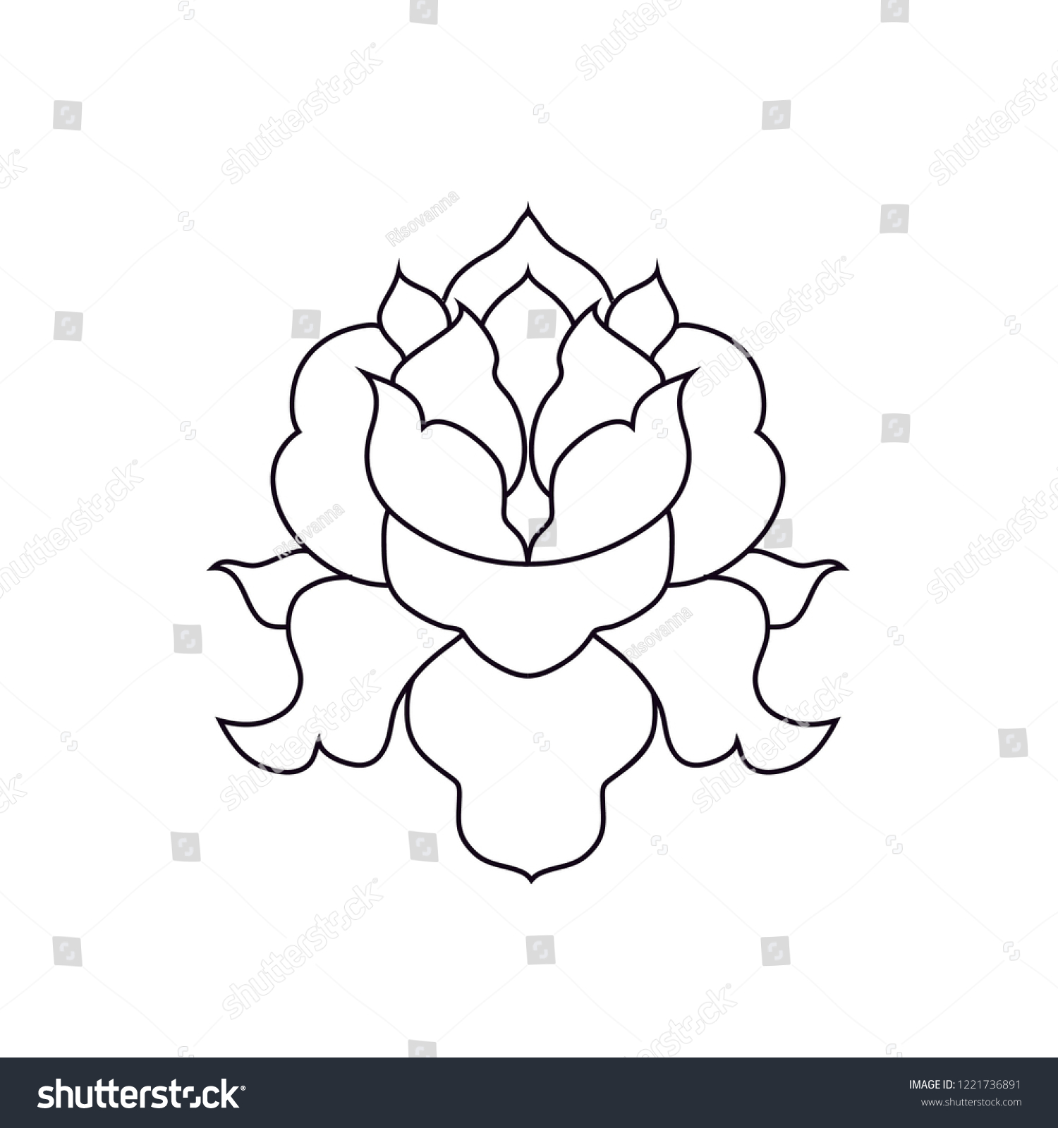 Beautiful Simple Symmetrical Lotus Flower Line Stock Vector Royalty