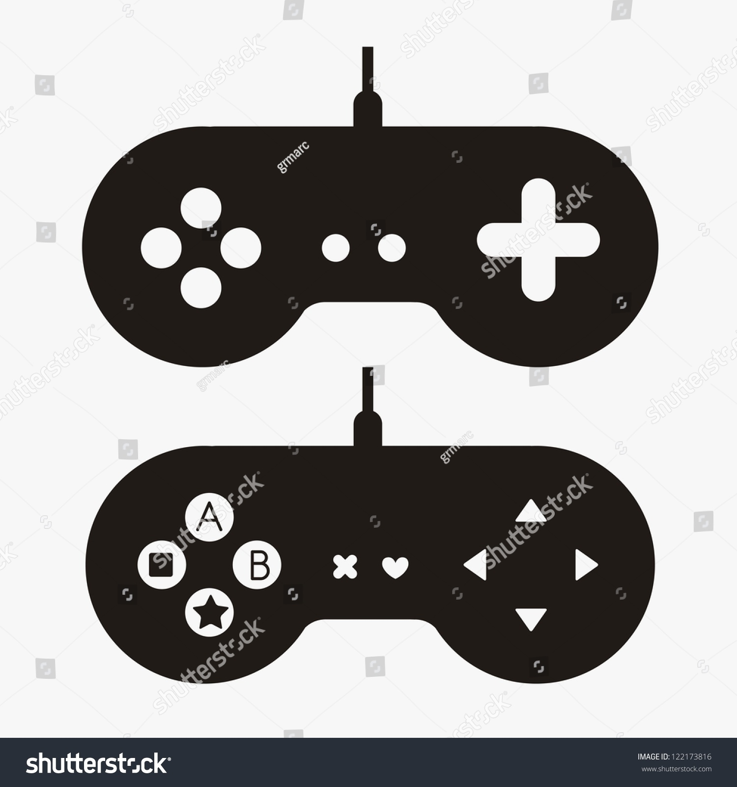 Illustration Game Controls Video Games Silhouettes Stock Vector