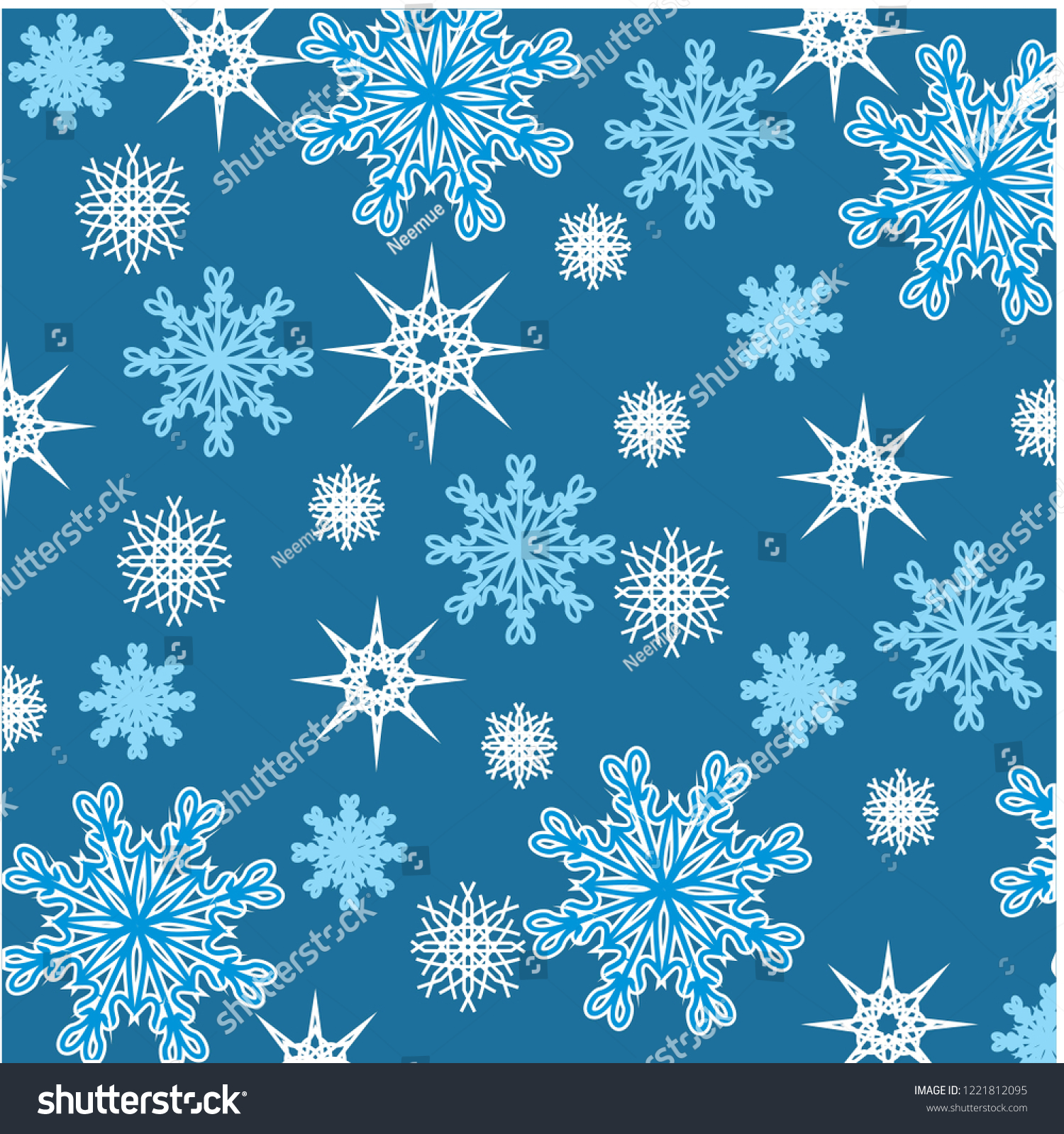 White Snowflakes Blue Background Winter Stock Vector Royalty