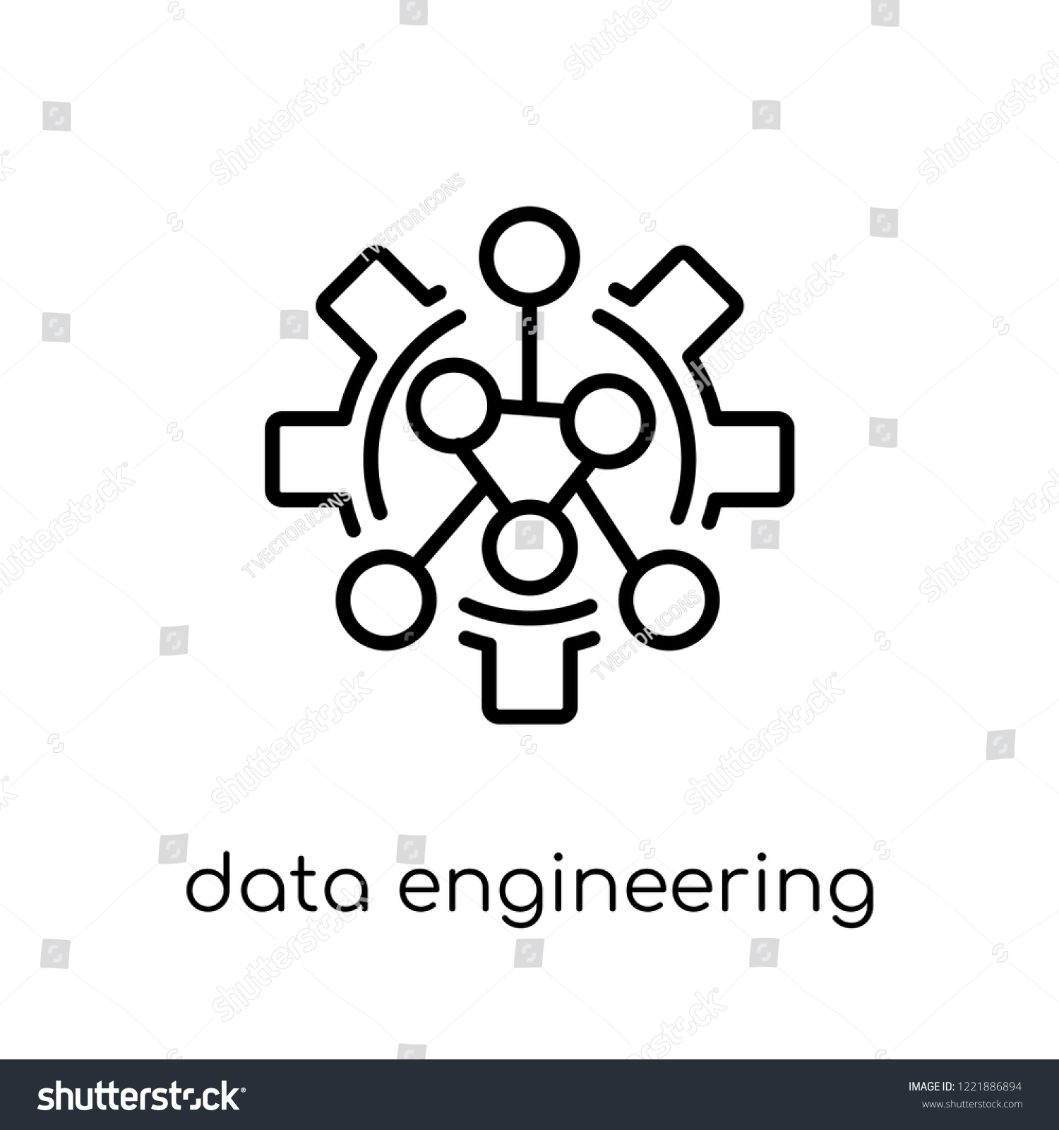 Data Engineering Icon Trendy Modern Flat Stock Vector