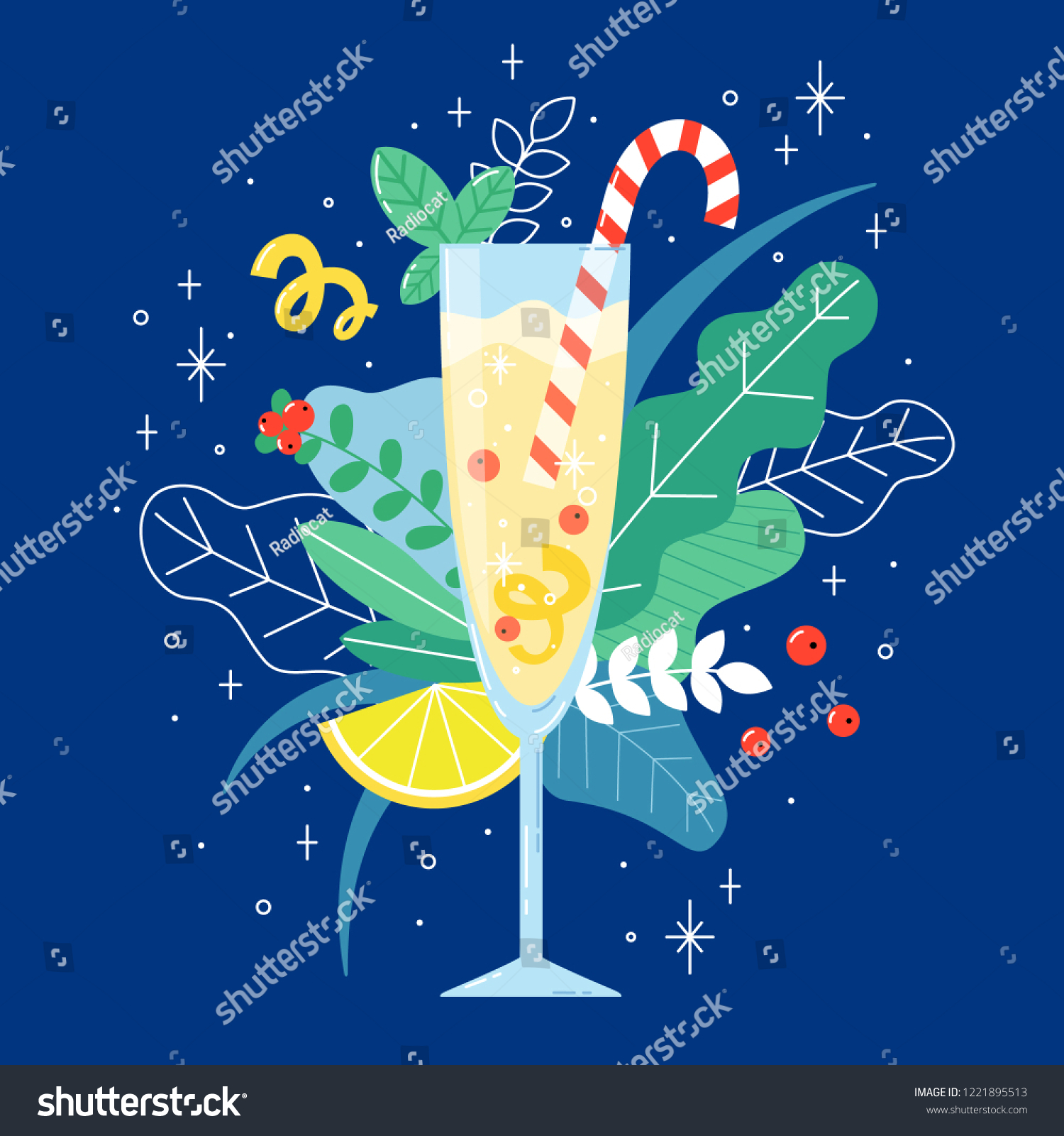 Glass Champagne Red Berries Lemon Candy Stock Vector (Royalty Free