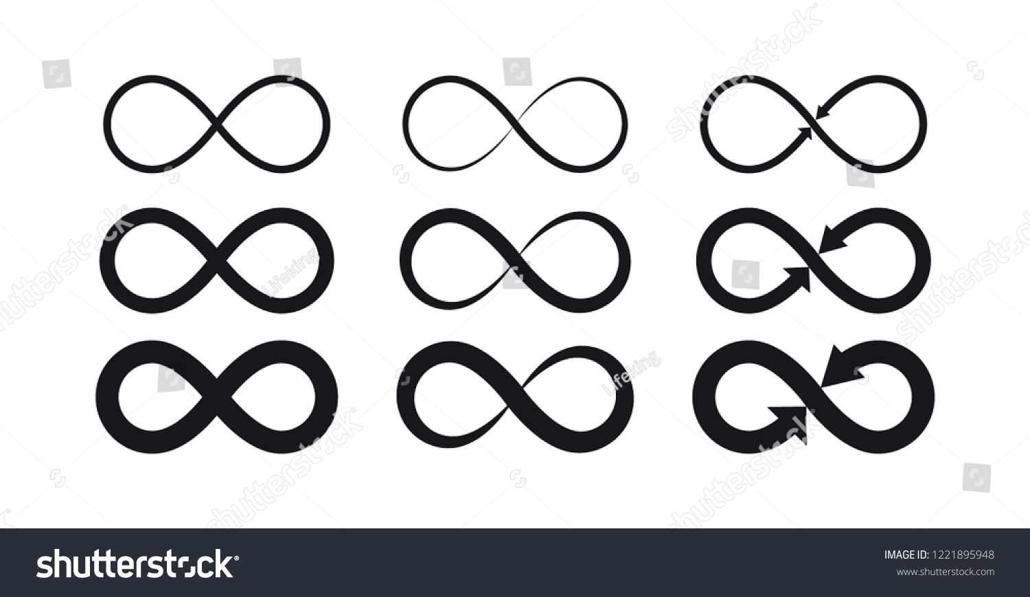 Infinity symbols. Eternal, limitless, endless, life logo or tattoo concept.