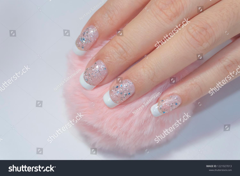 Close Luxury Beautiful Sparkling Silver Glitter Stock Photo Edit