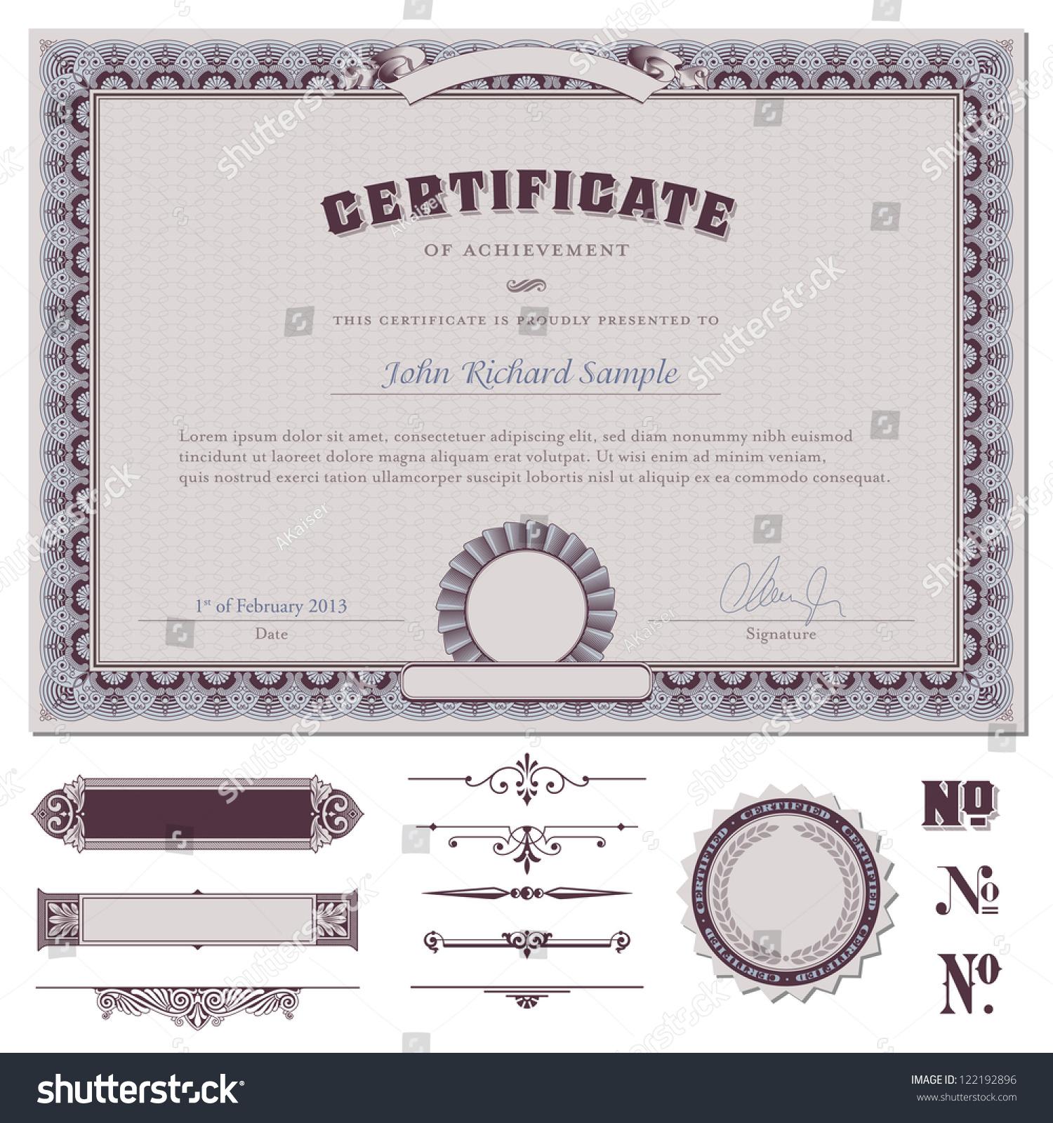 Certificate template additional design elements stock vector certificate template with additional design elements xflitez Images