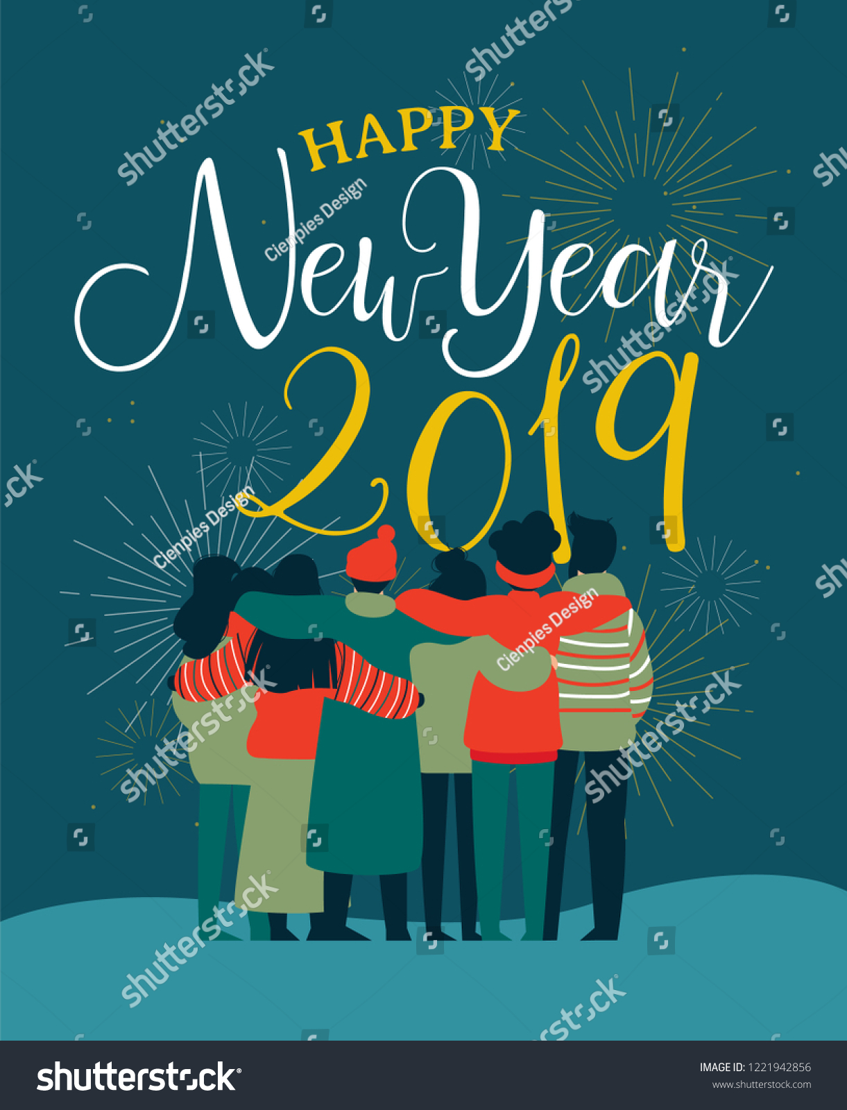 happy new year 2019 greeting card illustration of young people friend group hugging together with fireworks