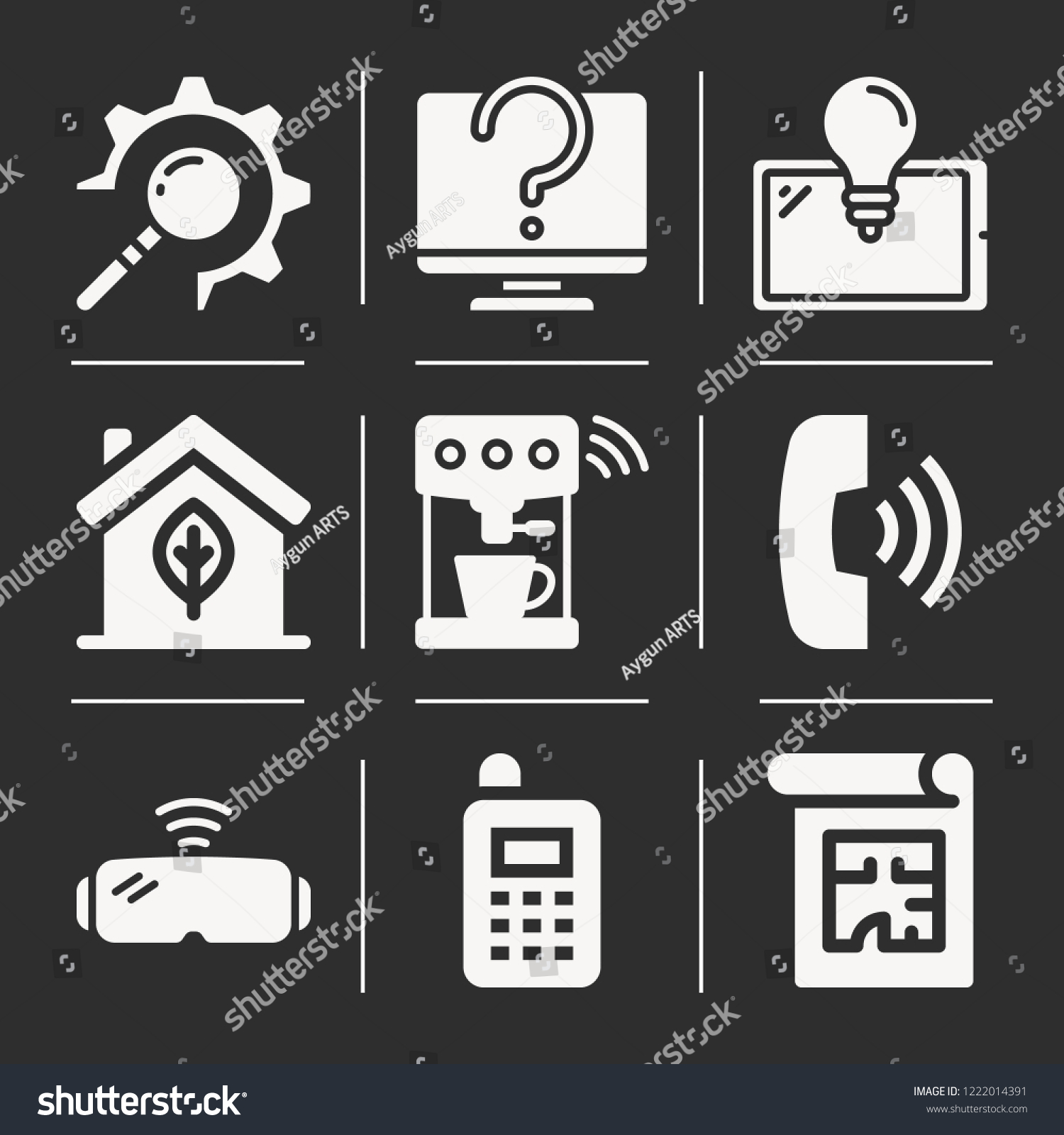 Vr Glasses Coffee Machine House Blueprint Stock Vector
