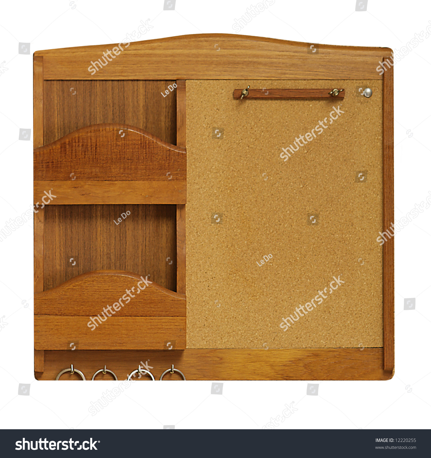 Empty Cork Board And Mail Organizer Wall Mount Stock Photo