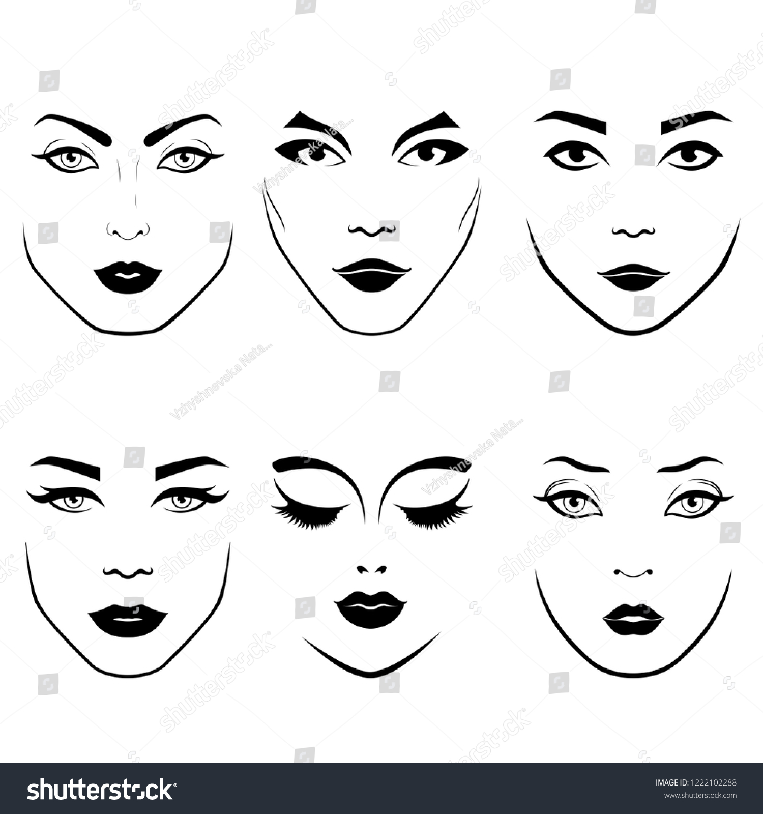 Stylized set of fashionable womens faces with distinctive eyes and lips as face care