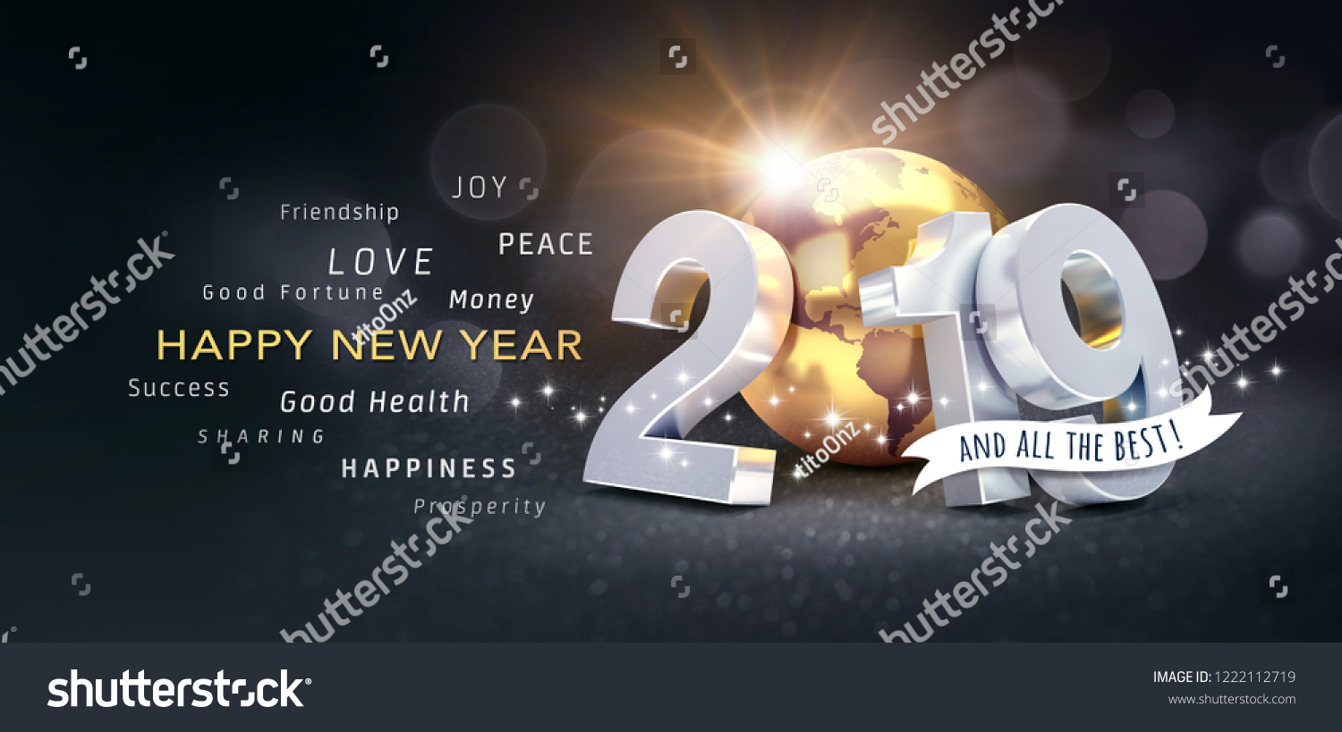 happy new year greetings best wishes and 2019 date number composed with planet earth