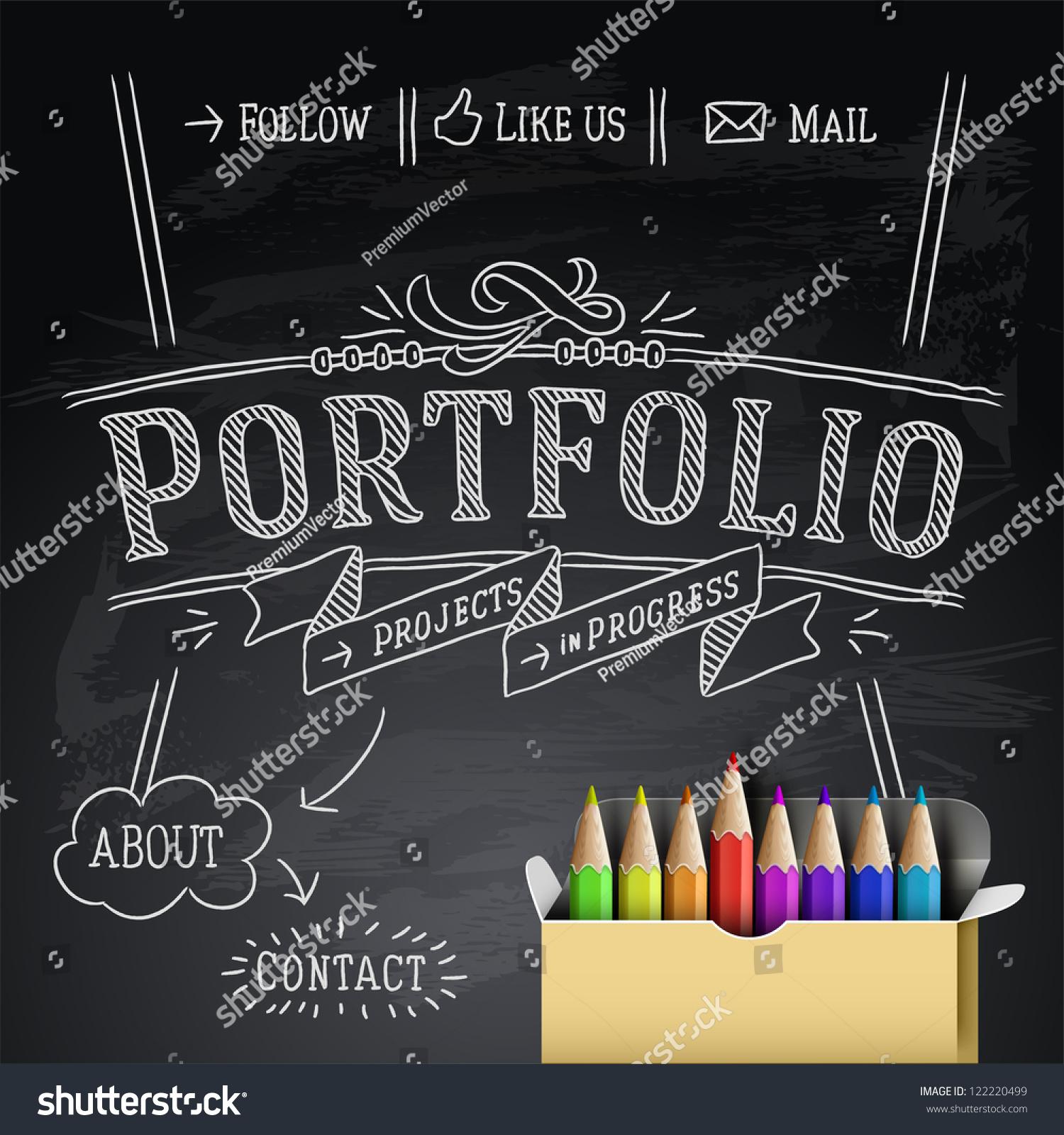 web design portfolio template vector illustration stock vector 122220499 shutterstock. Black Bedroom Furniture Sets. Home Design Ideas