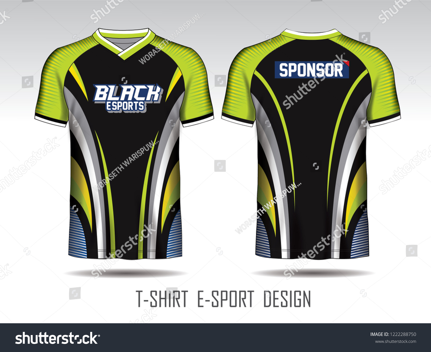 Black Green Layout Esport Tshirt Design Stock Vector ...