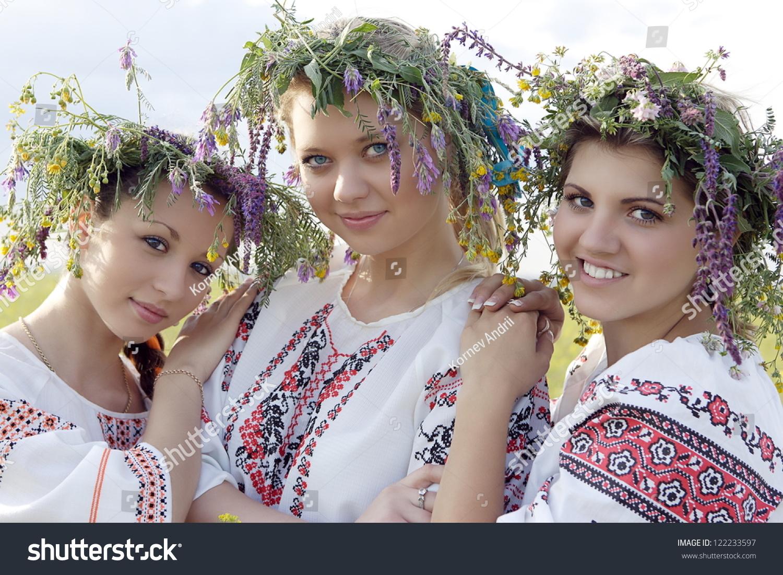 Three Young Ukrainian Girls Among Nature Stock Photo -3066