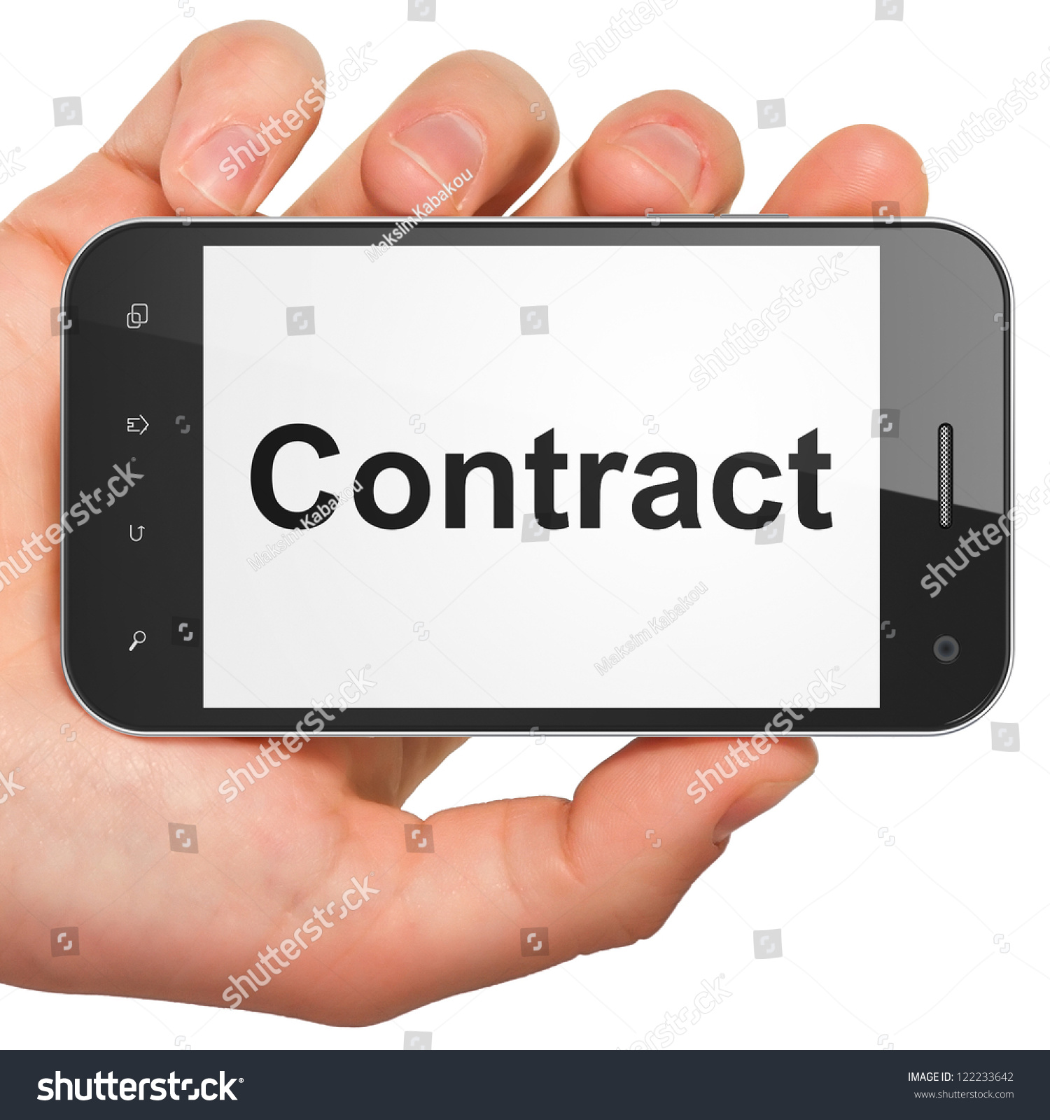 Hand Holding Smartphone Word Contract On Illustration – Contract Word