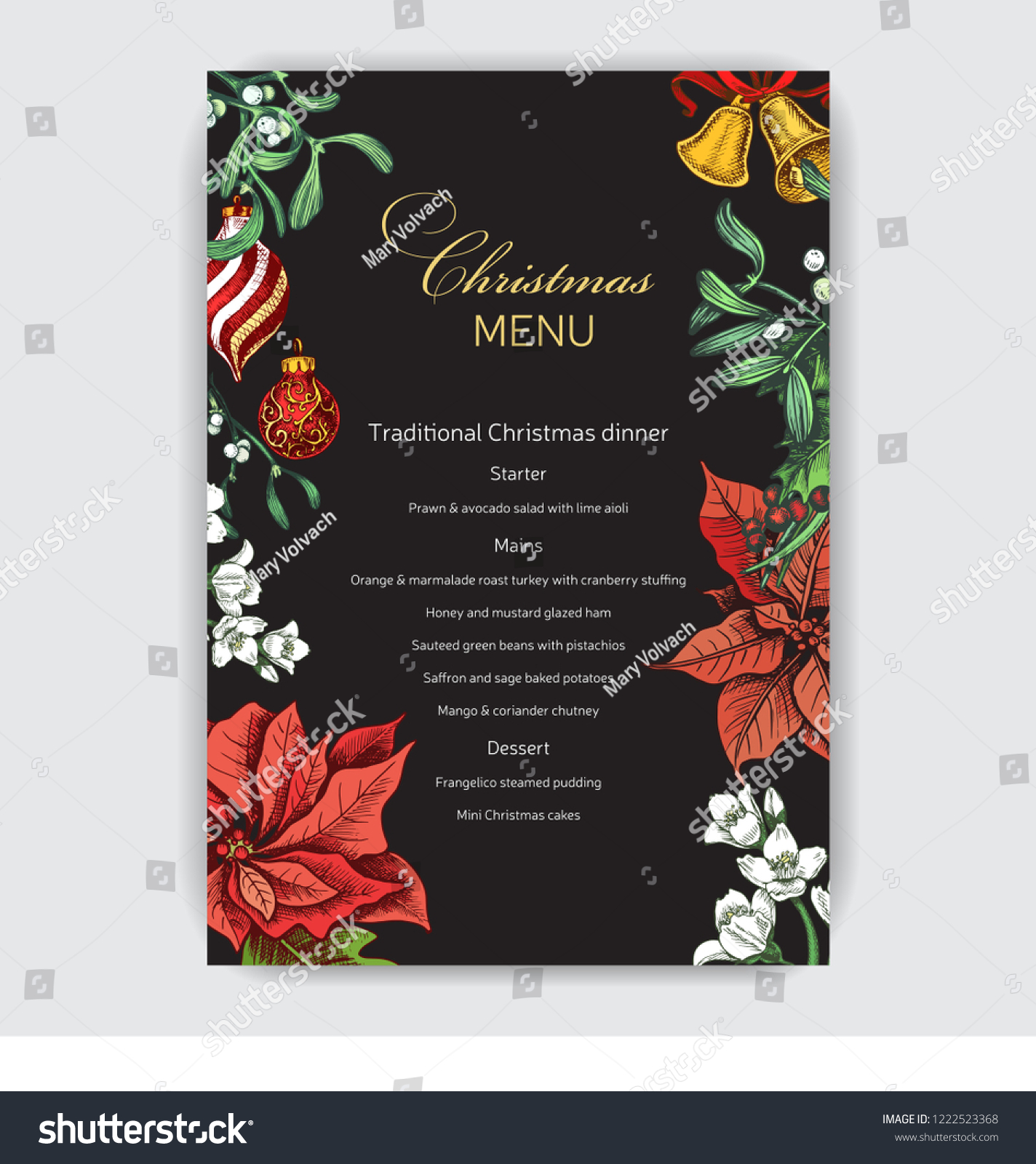 Invitation Card Dinner On New Years Stock Vector (Royalty Free) 1222523368
