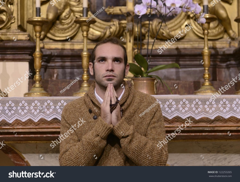 Man Monk Praying Altar Inside Church Stock Photo (Edit Now