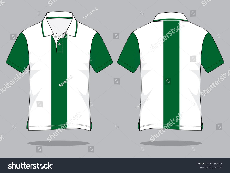 9bfaa4c642a Stripe Polo Shirt Design White Green Two Stock Vector (Royalty Free ...