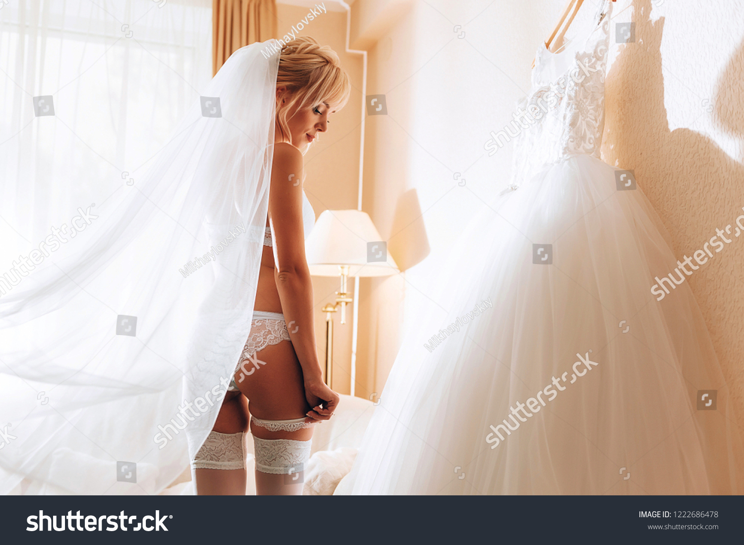 7b80b9a5155b morning of the bride. bride in luxurious underwear in anticipation of the upcoming  event.
