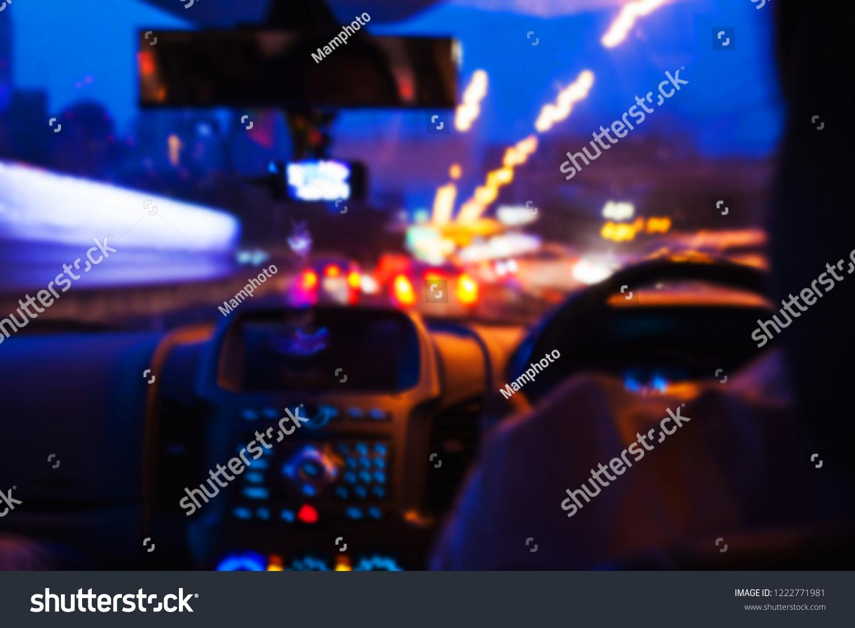 Blurred Image Man Inside Car Bokeh Stock Photo Edit Now 1222771981