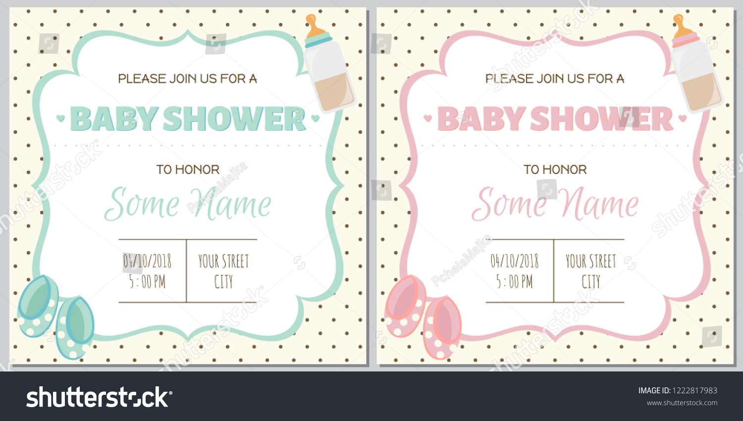Set Baby Shower Invitation Card Babies Stock Vector Royalty Free