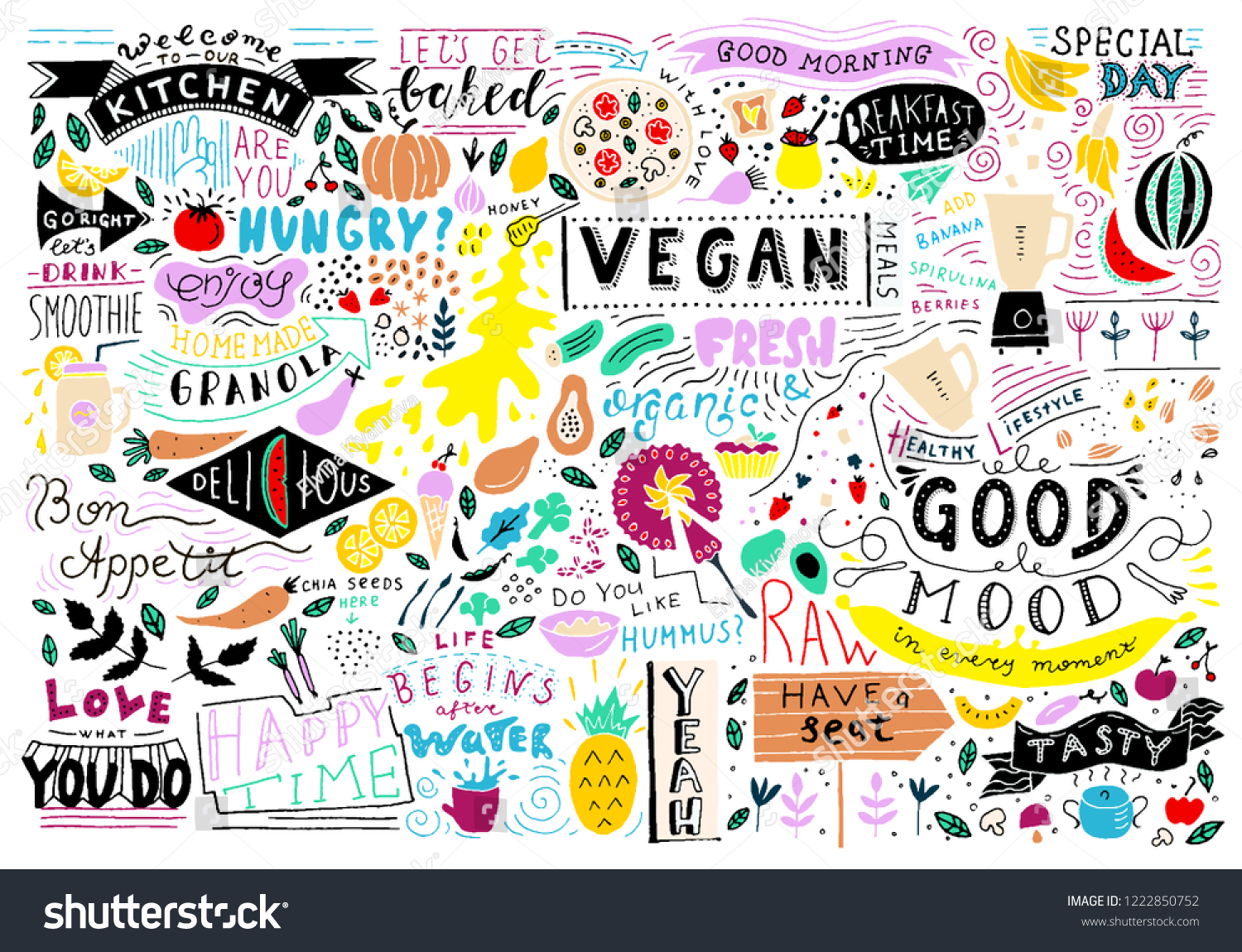 Kitchen Doodle Pattern Cafe Template Design Stock Vector Royalty Free 1222850752