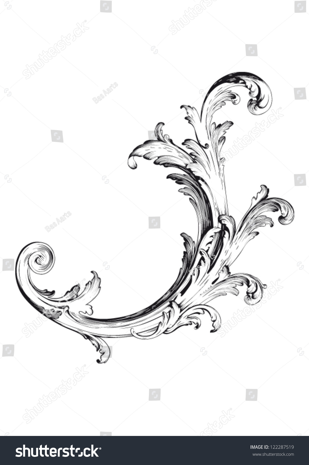High Definition Vintage Victorian Curl Swirl Stock Vector ...