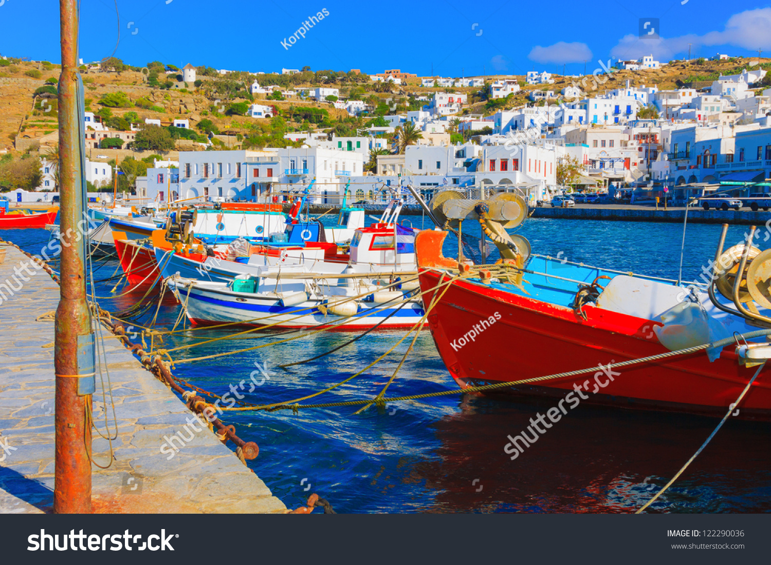 Mykonos greece beautiful colorful wooden fishing stock for Fishing row boats