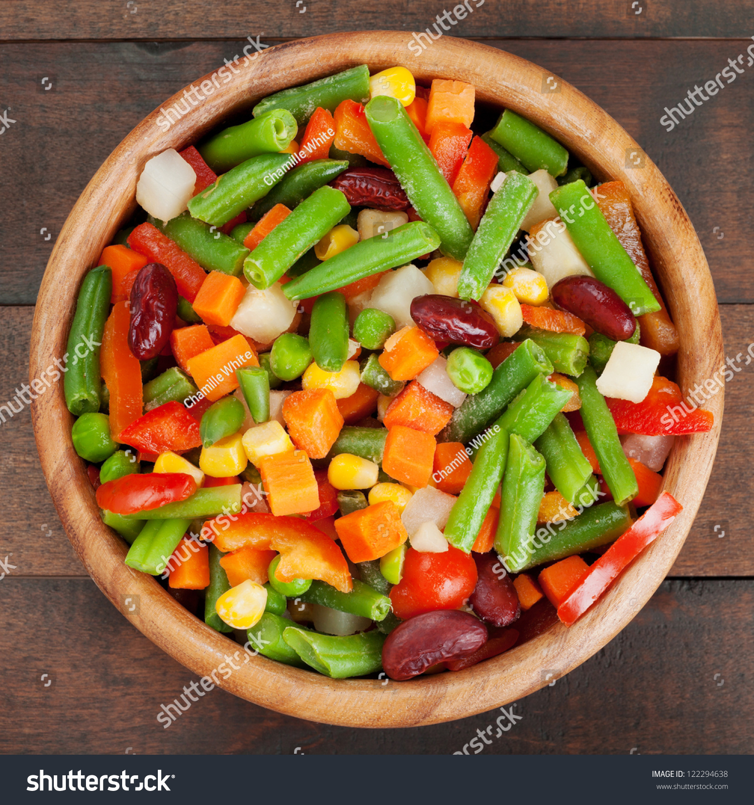 Kitchen table top view - Mixed Vegetables In Wooden Bowl On Kitchen Table Top View